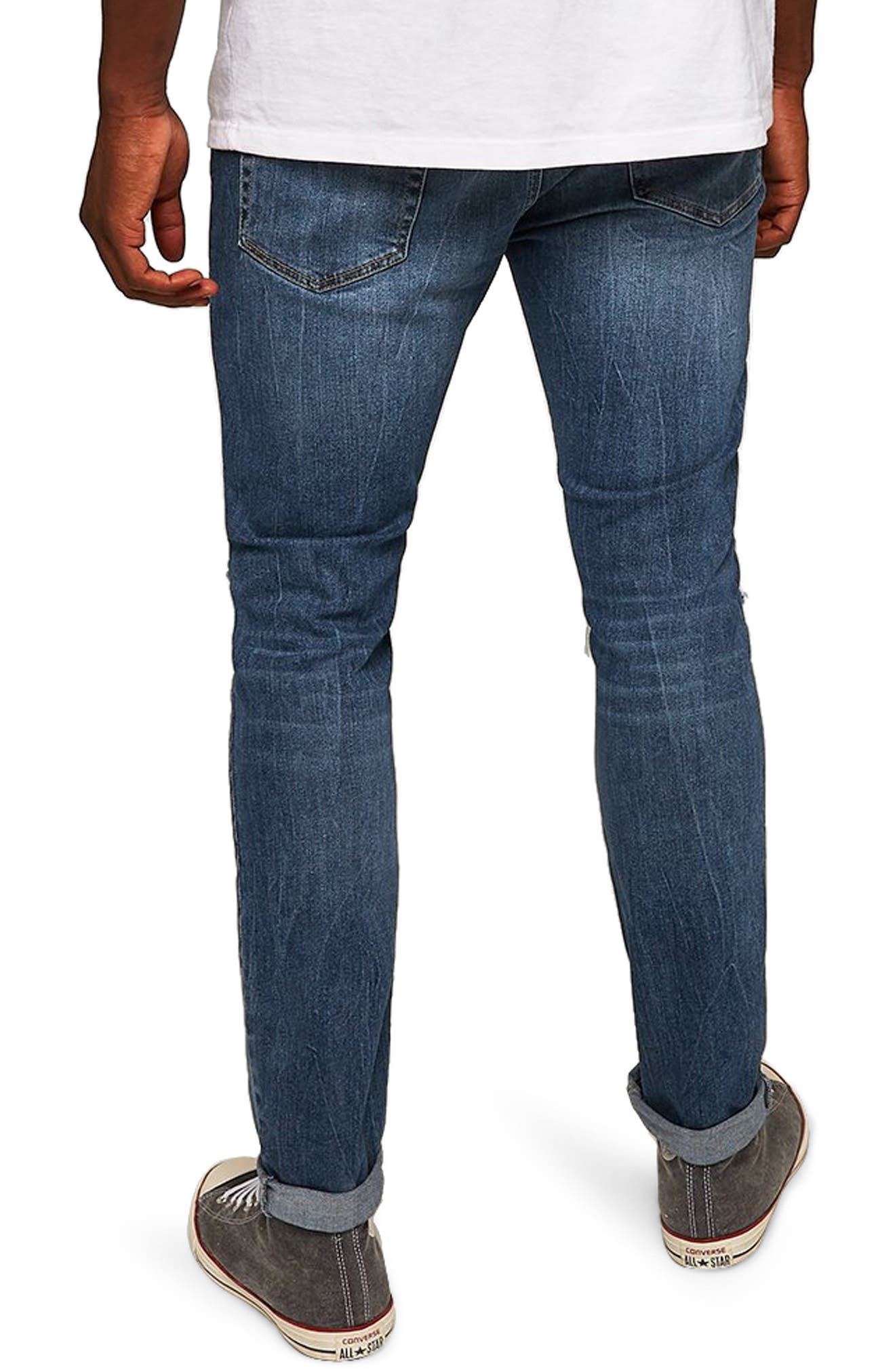 TOPMAN, Polly Ripped Stretch Skinny Jeans, Alternate thumbnail 2, color, BLUE