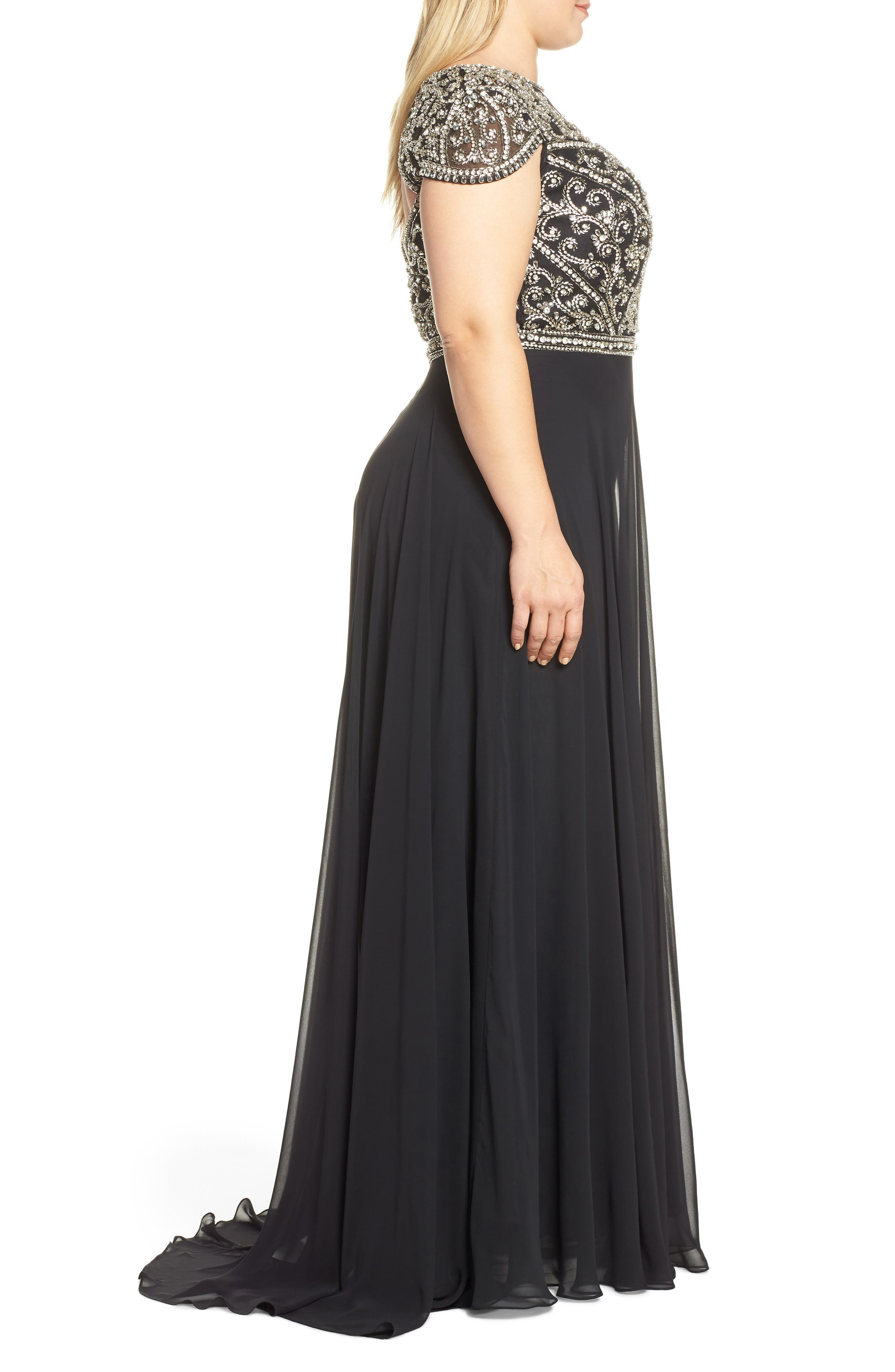 MAC DUGGAL, Embellished Bodice Evening Dress, Alternate thumbnail 4, color, BLACK