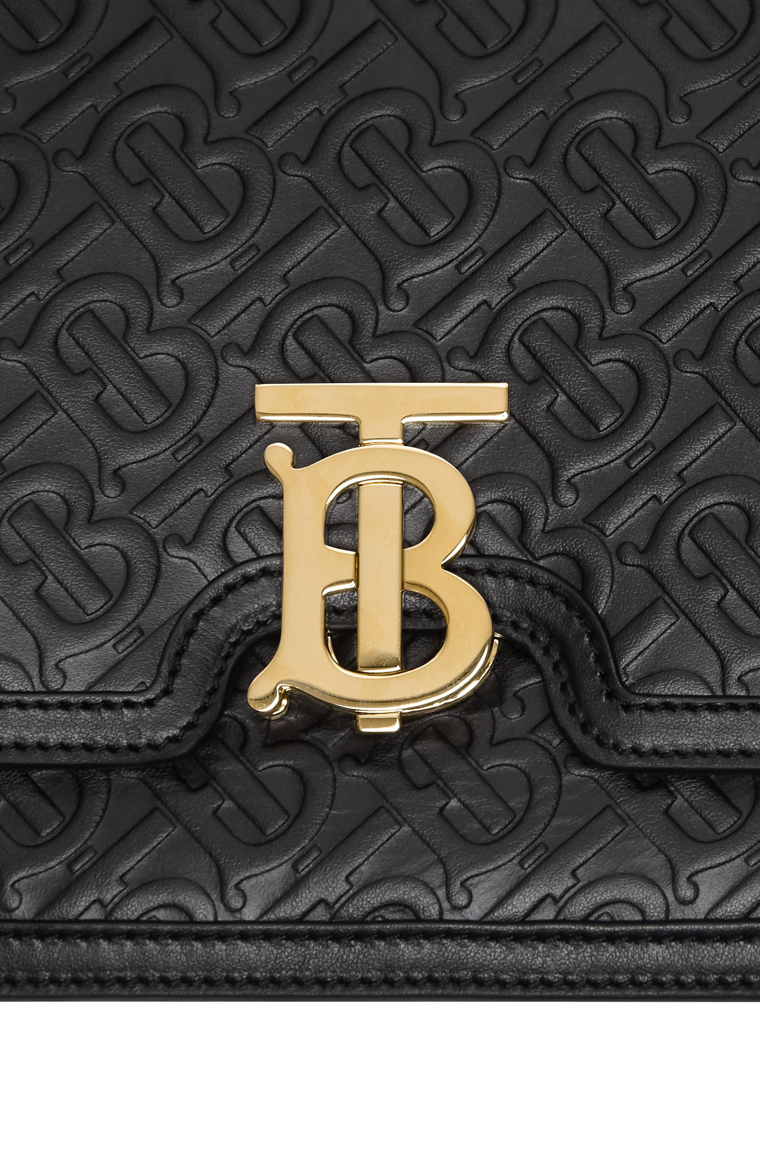 BURBERRY, Medium TB Monogram Leather Bag, Alternate thumbnail 8, color, BLACK