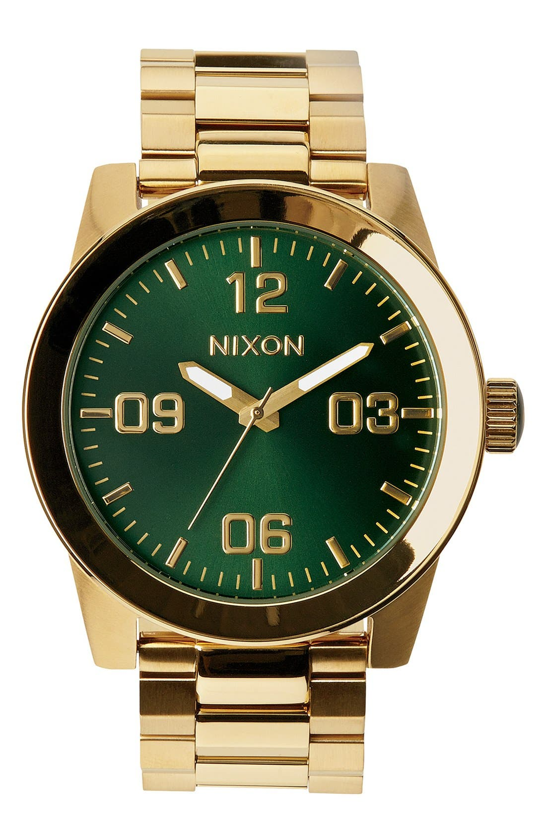 NIXON The Corporal Bracelet Watch, 48mm, Main, color, GOLD/ GREEN