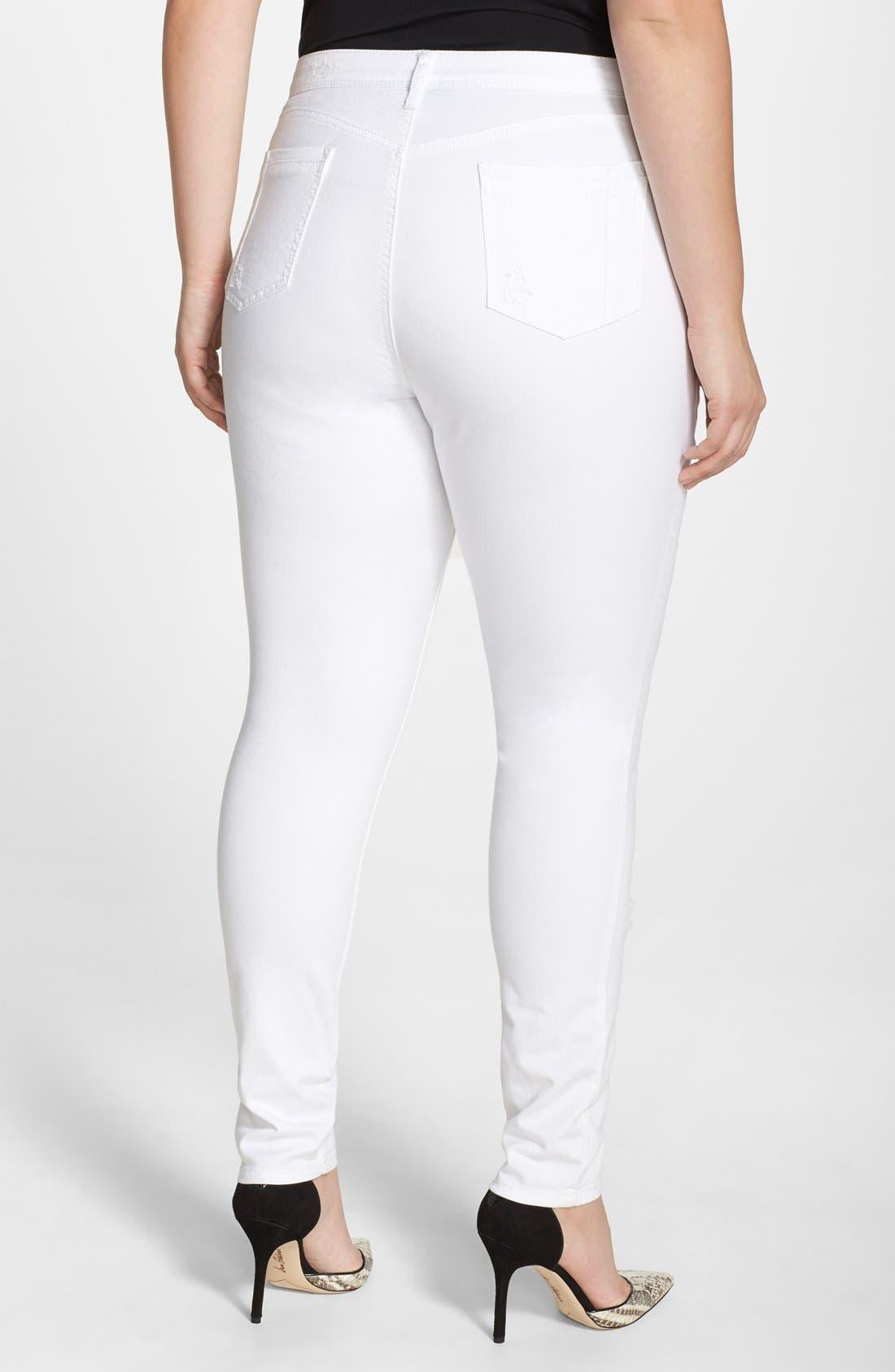 POETIC JUSTICE, 'Maya' Destroyed White Skinny Jeans, Alternate thumbnail 2, color, CASPER