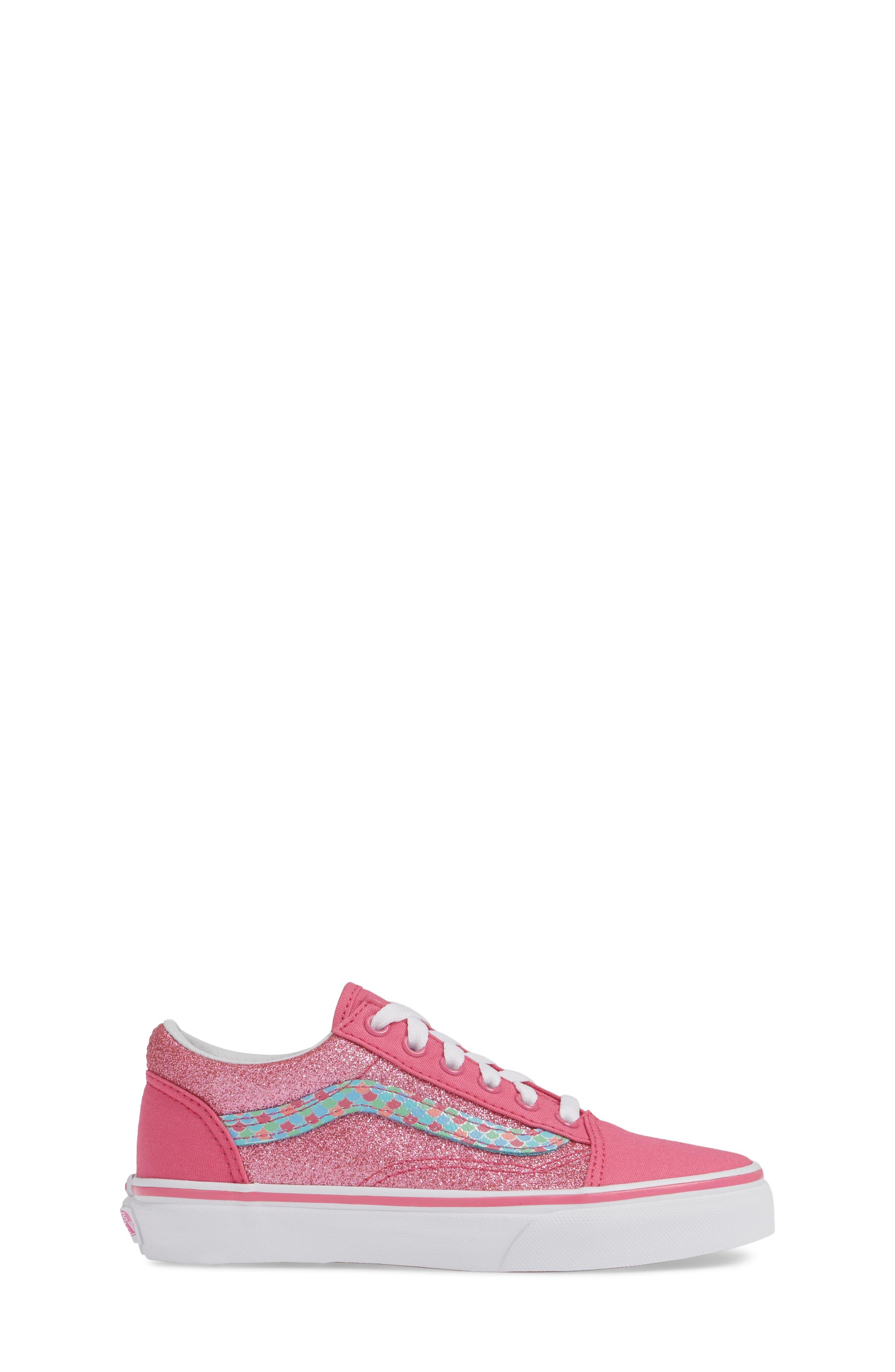 VANS, Old Skool Sneaker, Alternate thumbnail 3, color, CARMINE ROSE/ TRUE WHITE
