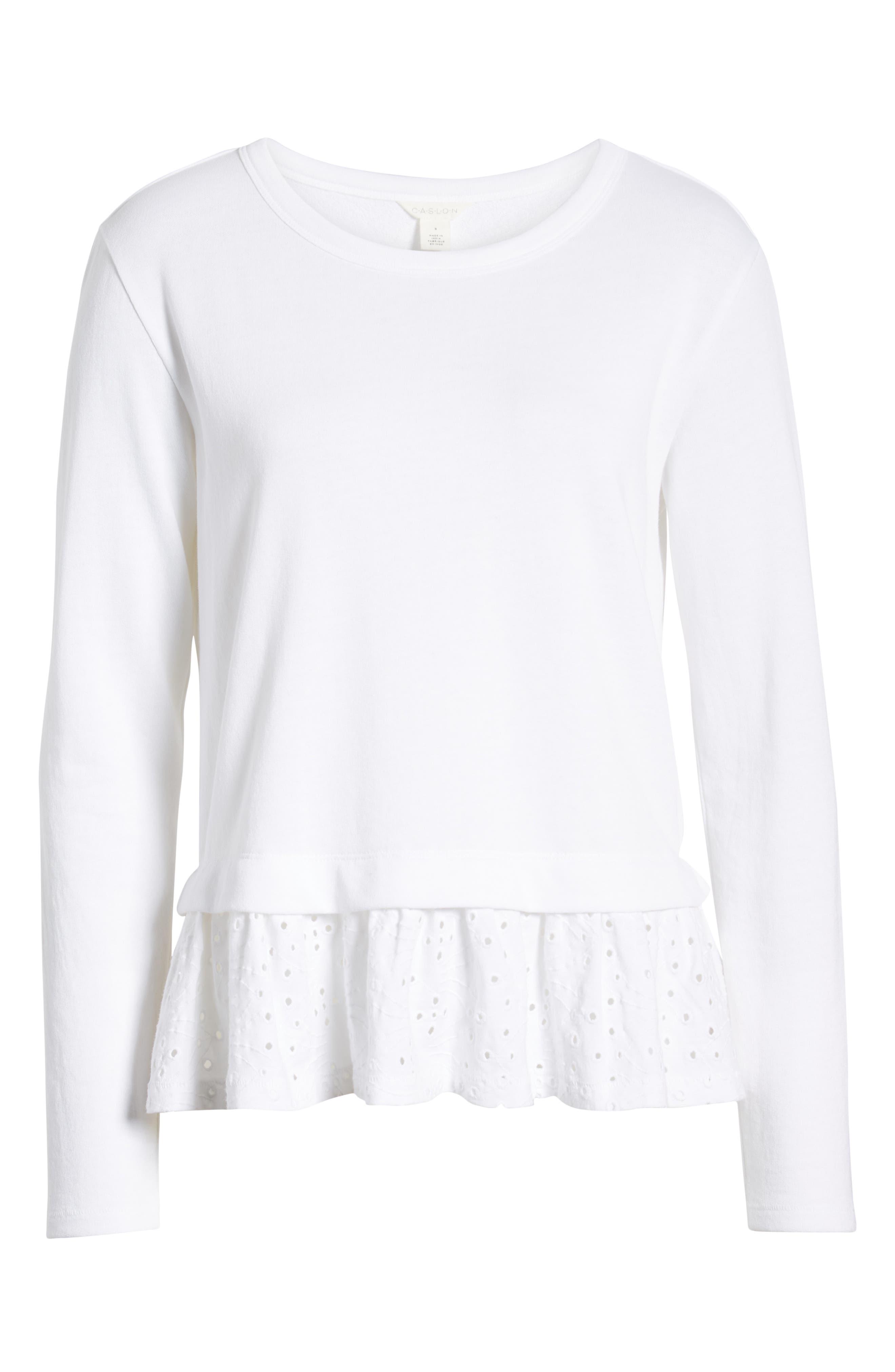 CASLON<SUP>®</SUP>, Eyelet Peplum Sweatshirt, Alternate thumbnail 6, color, WHITE