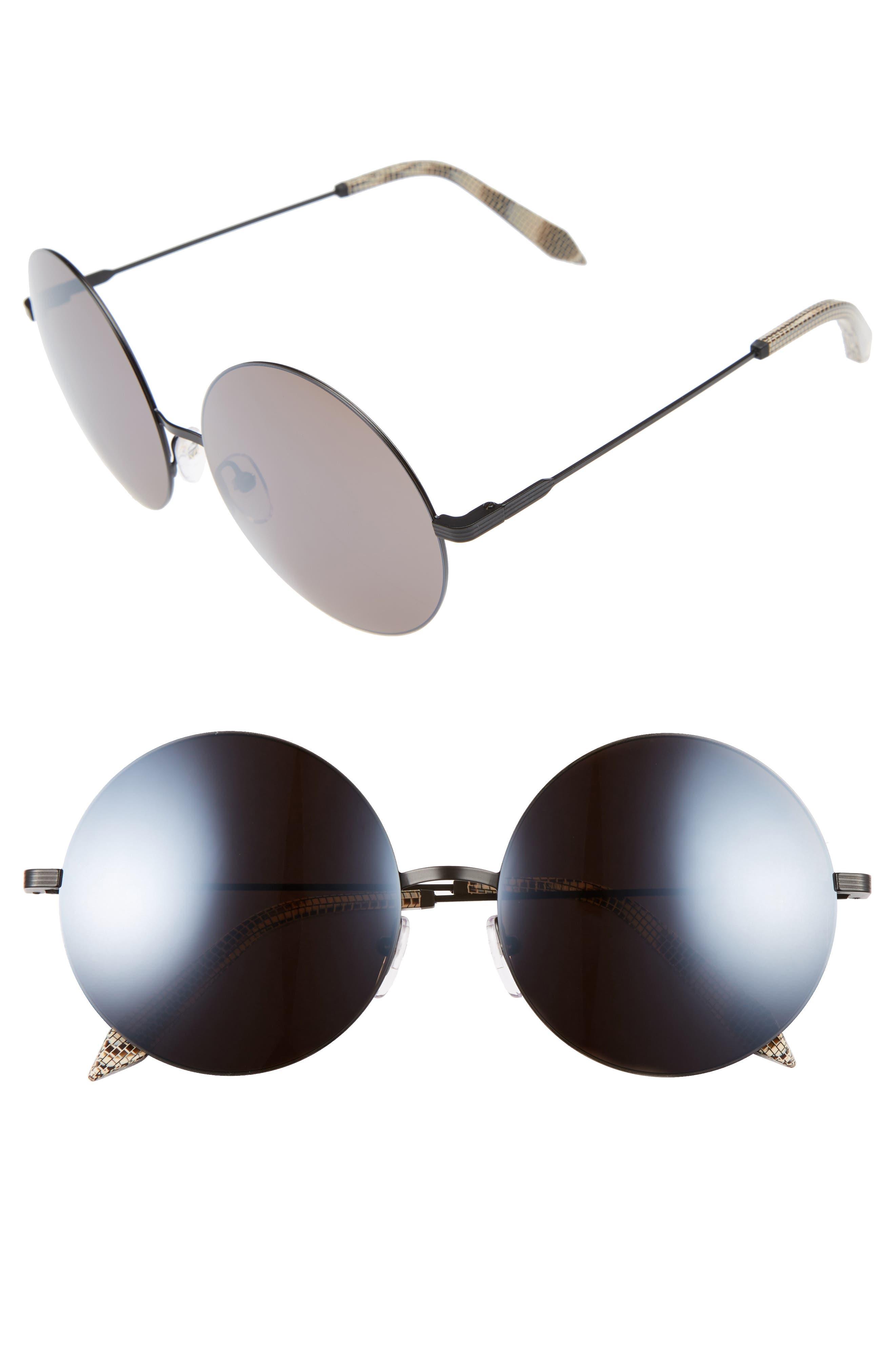 VICTORIA BECKHAM, Feather 58mm Round Sunglasses, Main thumbnail 1, color, BLACK/ CAVIAR MIRROR