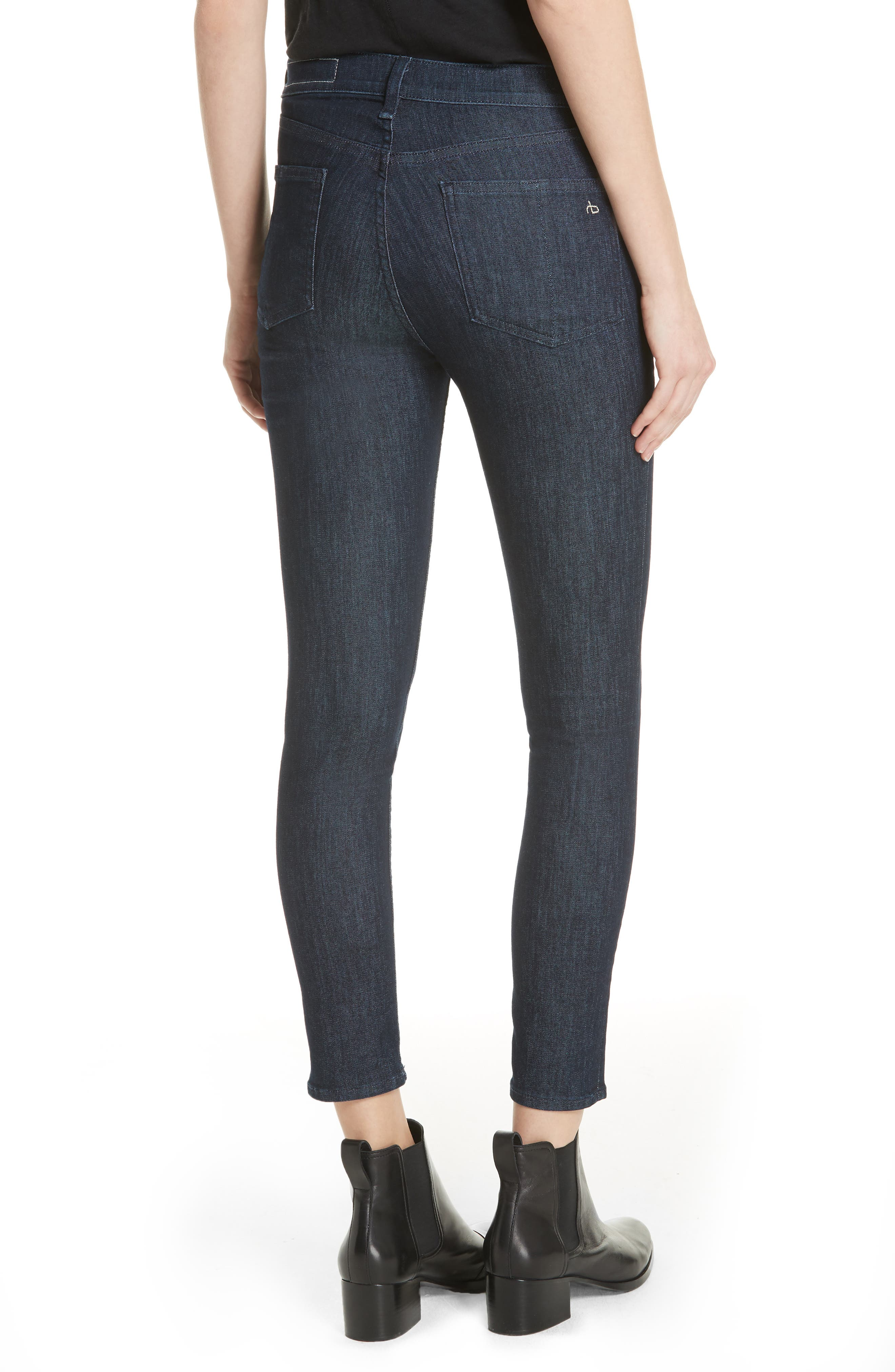 RAG & BONE, High Waist Skinny Jeans, Alternate thumbnail 2, color, INDIGO