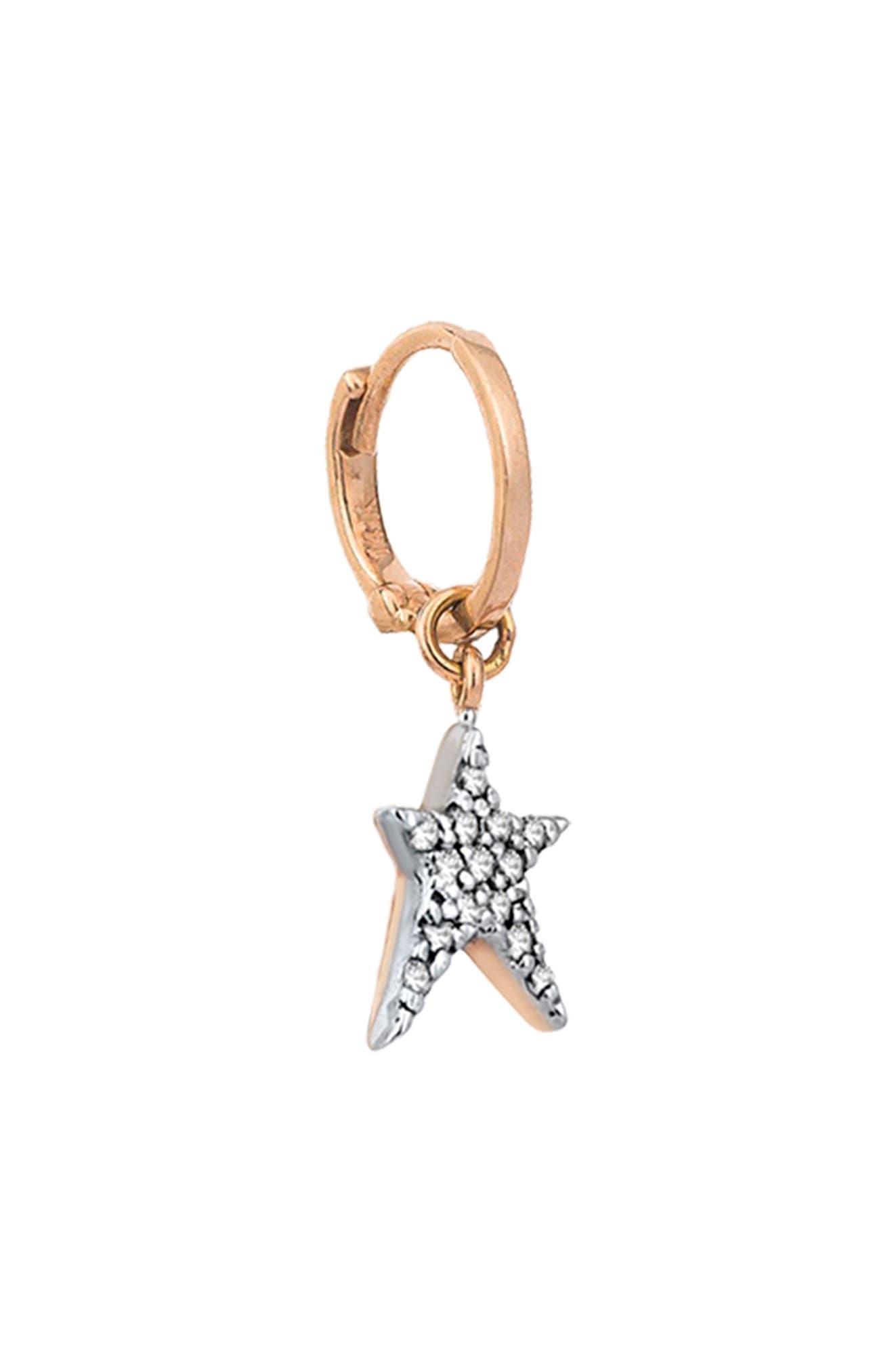 KISMET BY MILKA, Diamond Starstruck Small Hoop Earring, Alternate thumbnail 3, color, ROSE GOLD