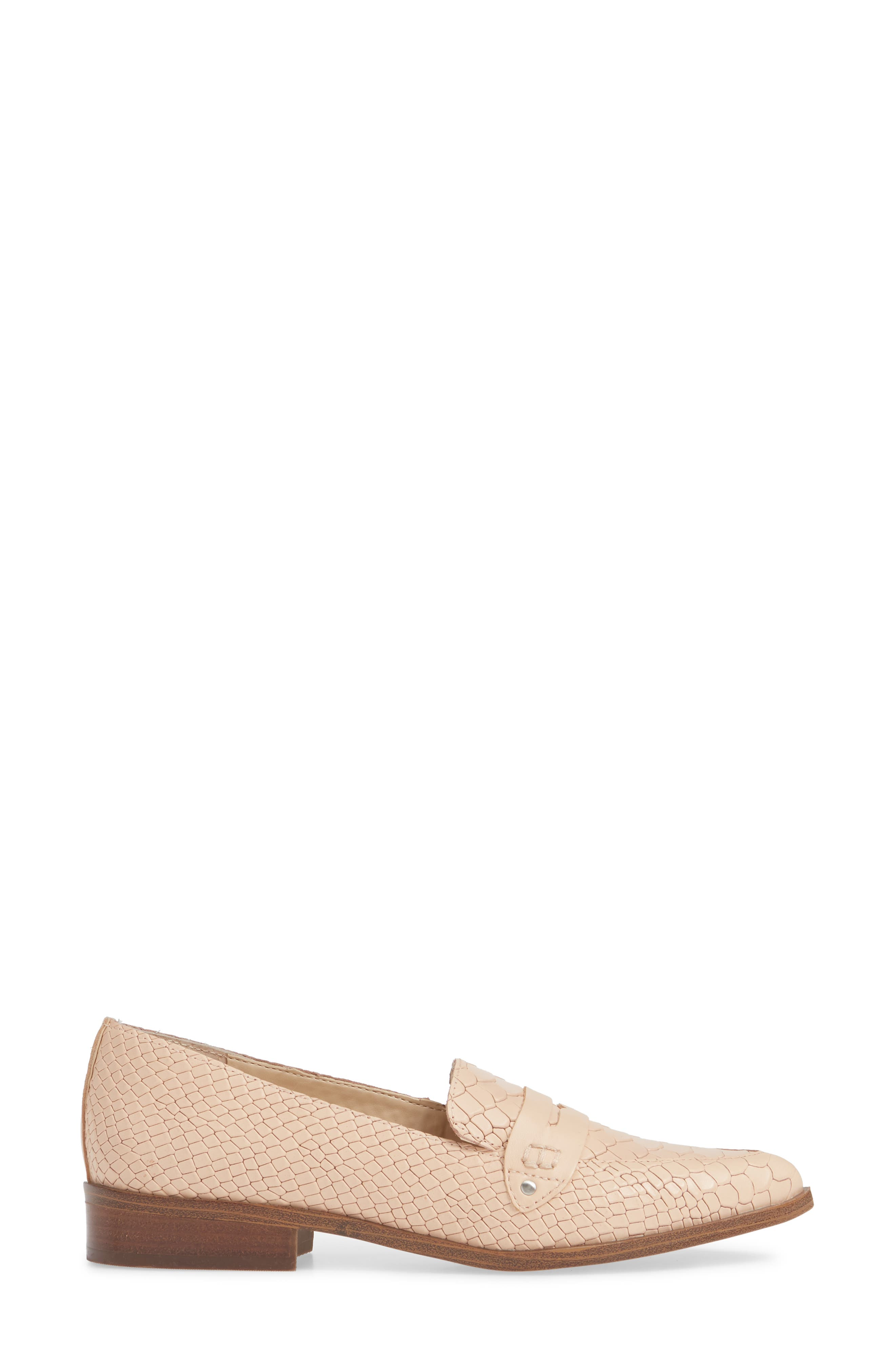 SOLE SOCIETY, Jessica Smoking Slipper, Alternate thumbnail 3, color, BISQUE LEATHER