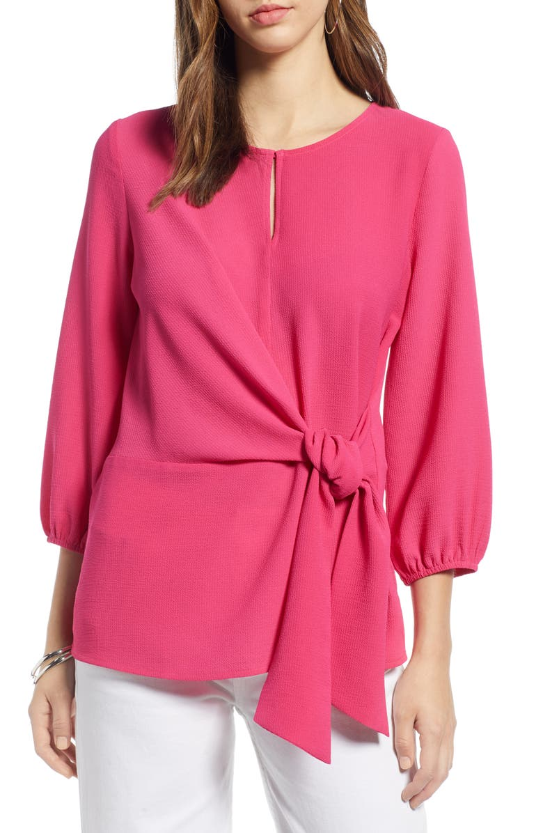 HALOGEN<SUP>®</SUP> Tie Front Top, Main, color, FUCHSIA