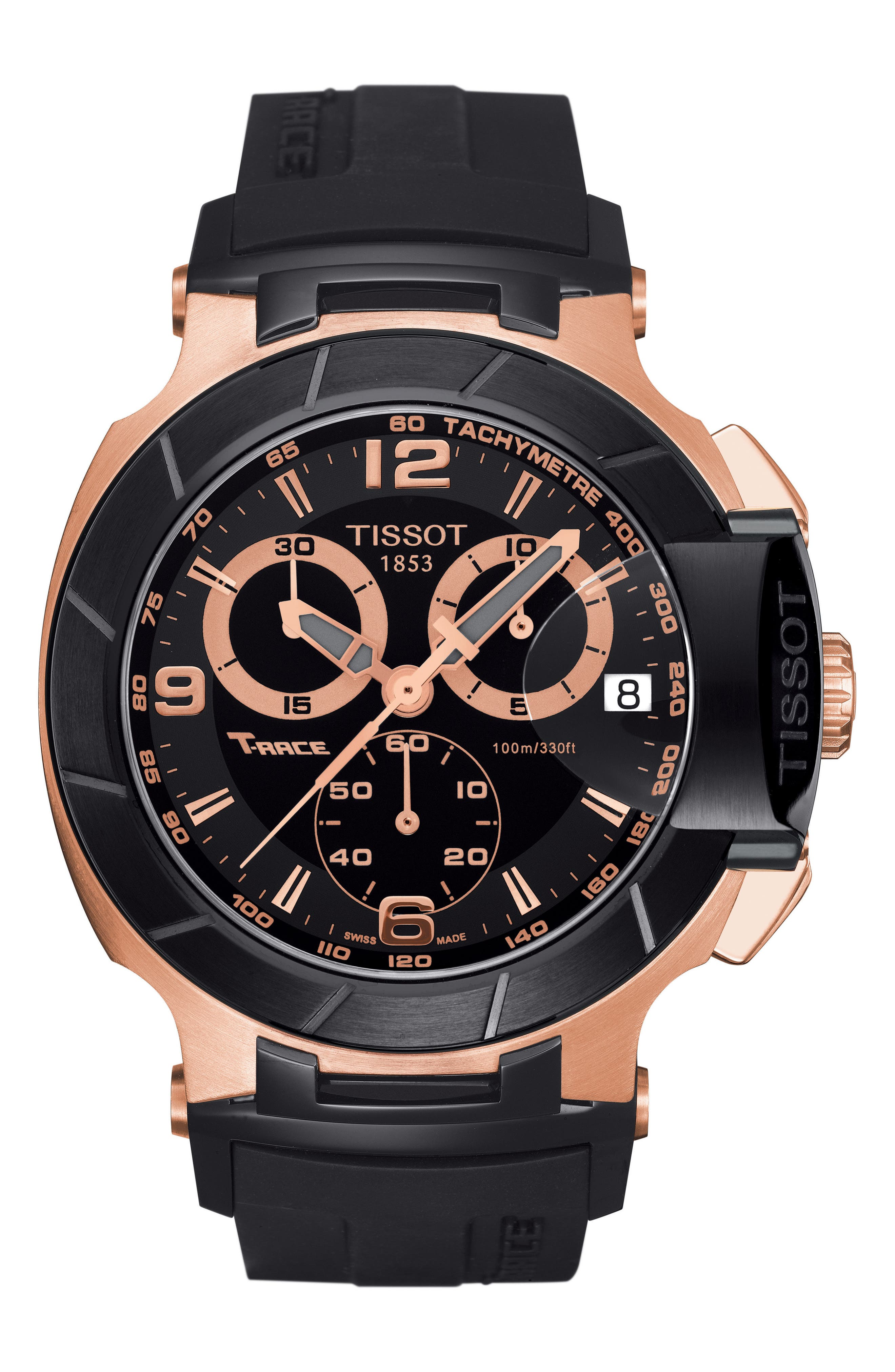 TISSOT, T-Race Chronograph Silicone Strap Watch, 50mm, Main thumbnail 1, color, BLACK/ ROSE GOLD