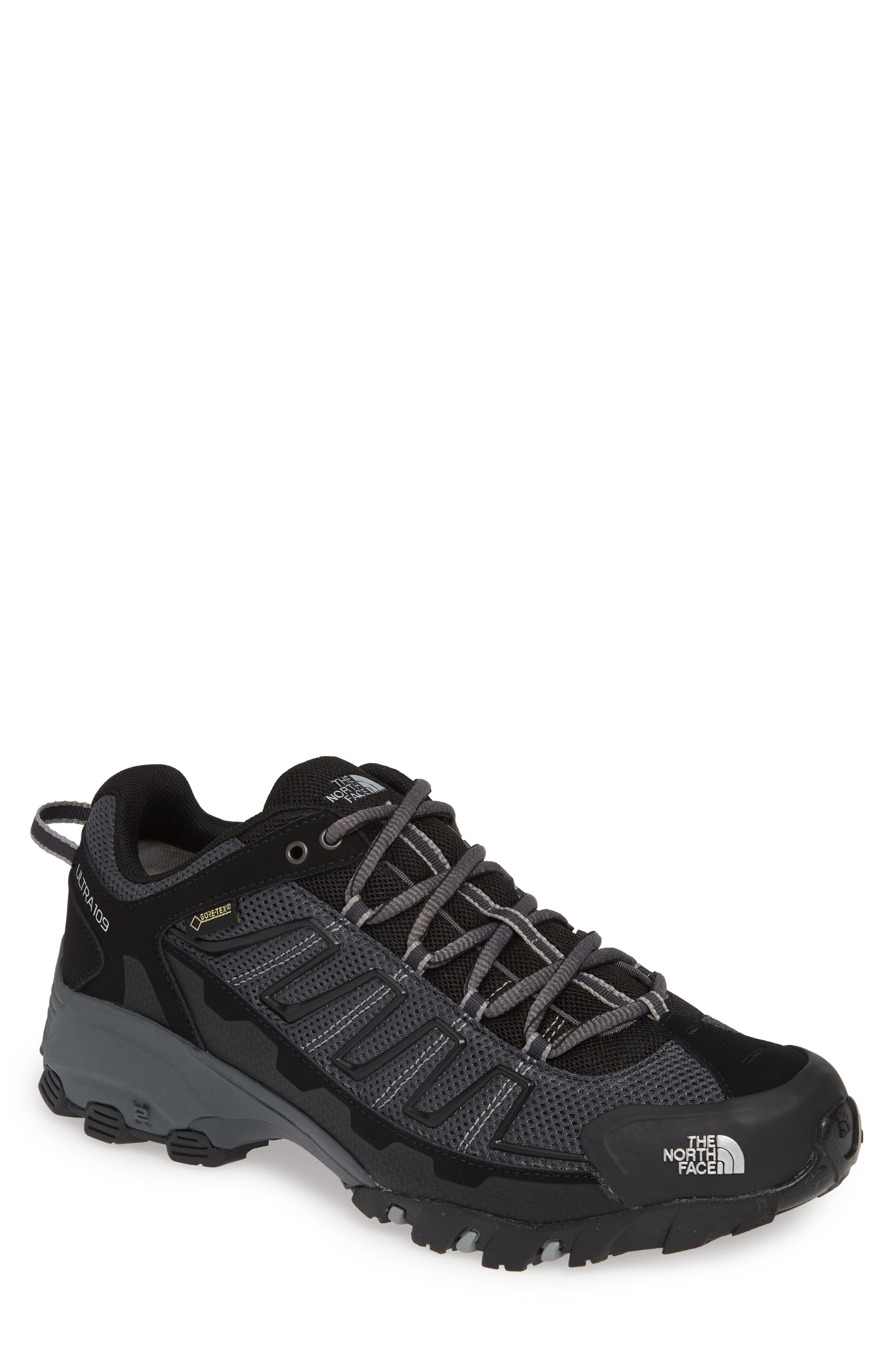 THE NORTH FACE, 'Ultra 109 GTX' Waterproof Running Shoe, Main thumbnail 1, color, BLACK/ GREY