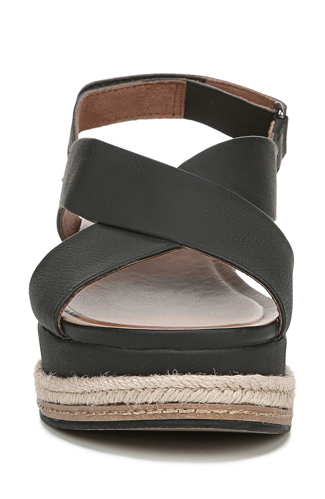 NATURALIZER, Baya Espadrille Wedge Sandal, Alternate thumbnail 4, color, BLACK NUBUCK LEATHER