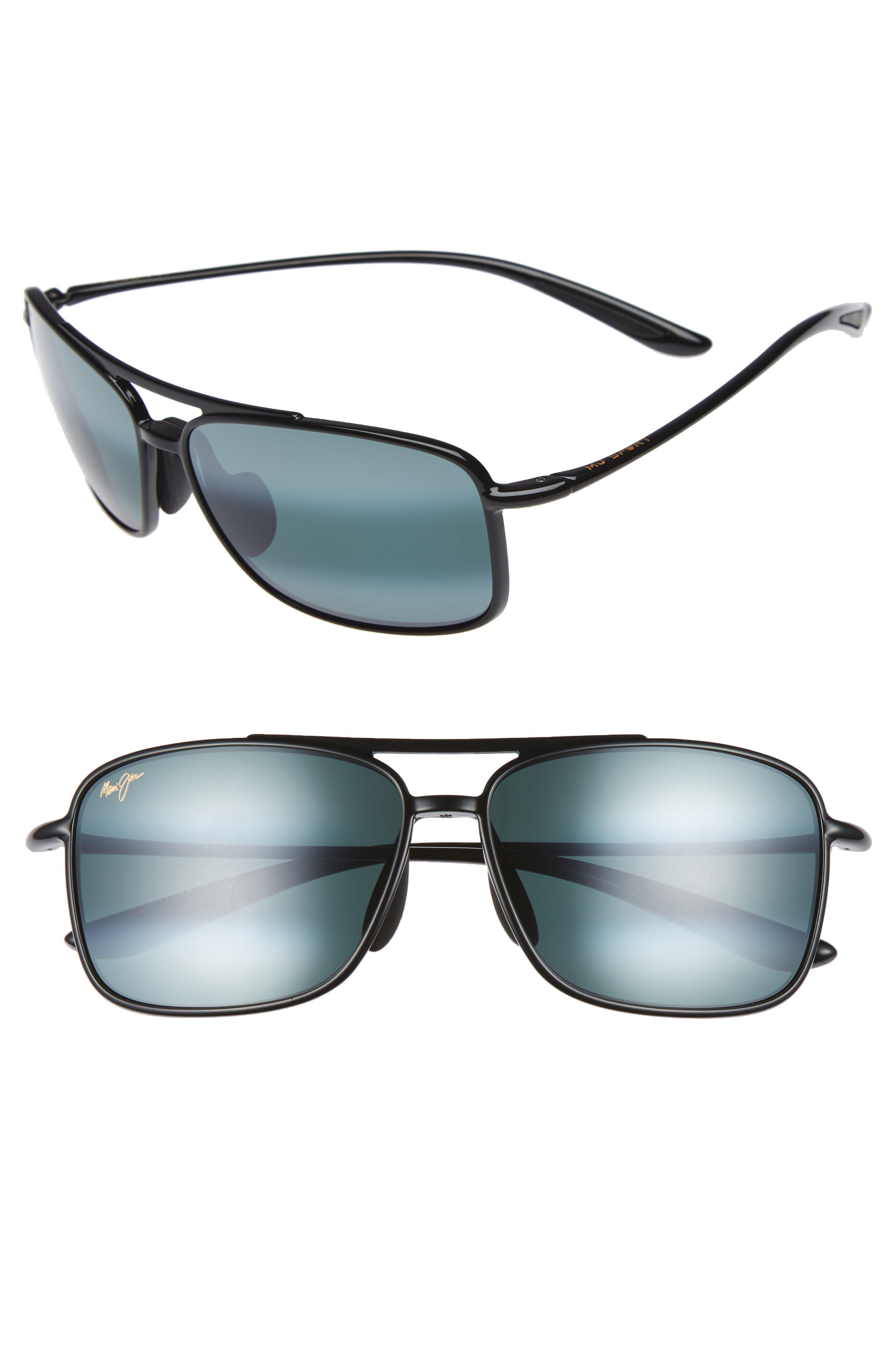 MAUI JIM Kaupo Gap 61mm PolarizedPlus2<sup>®</sup> Sunglasses, Main, color, GLOSS BLACK/ NEUTRAL GREY