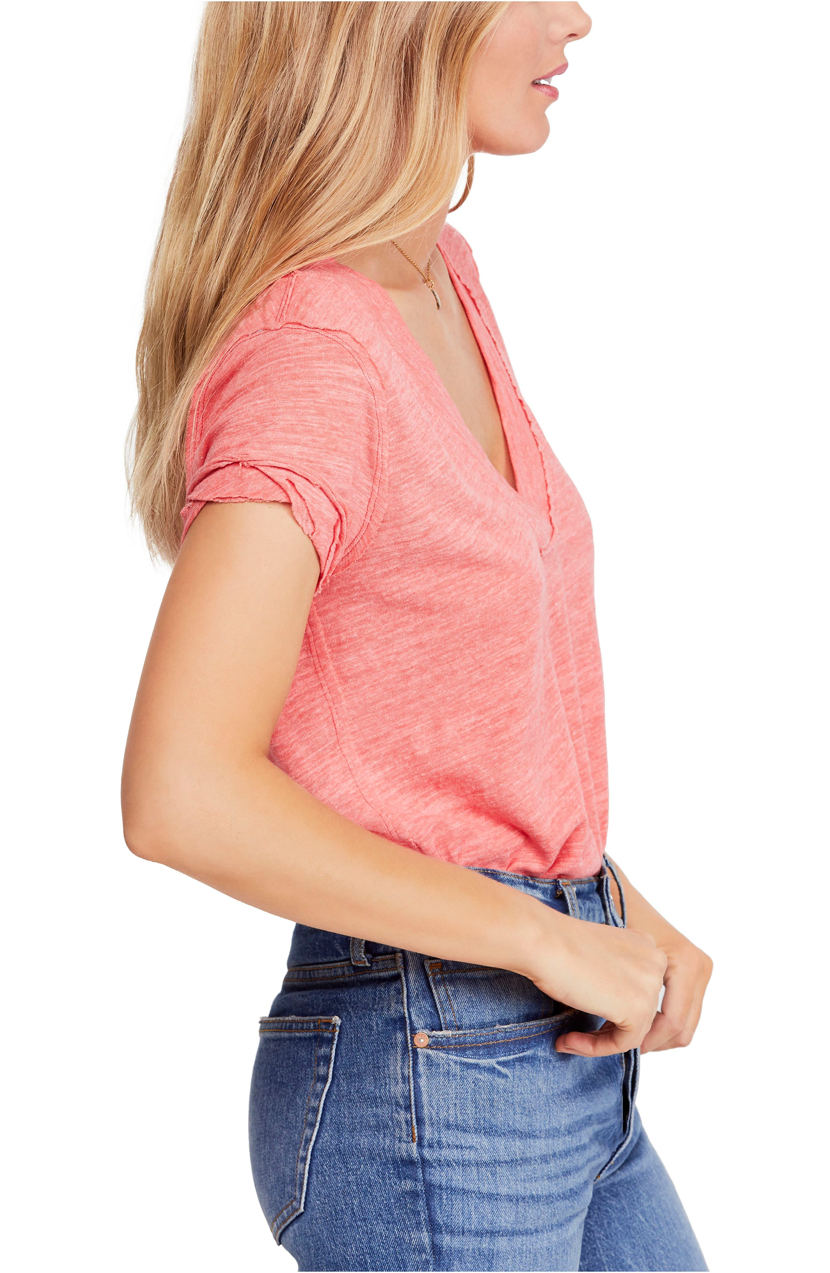 FREE PEOPLE, V-Neck Tee, Alternate thumbnail 3, color, RED