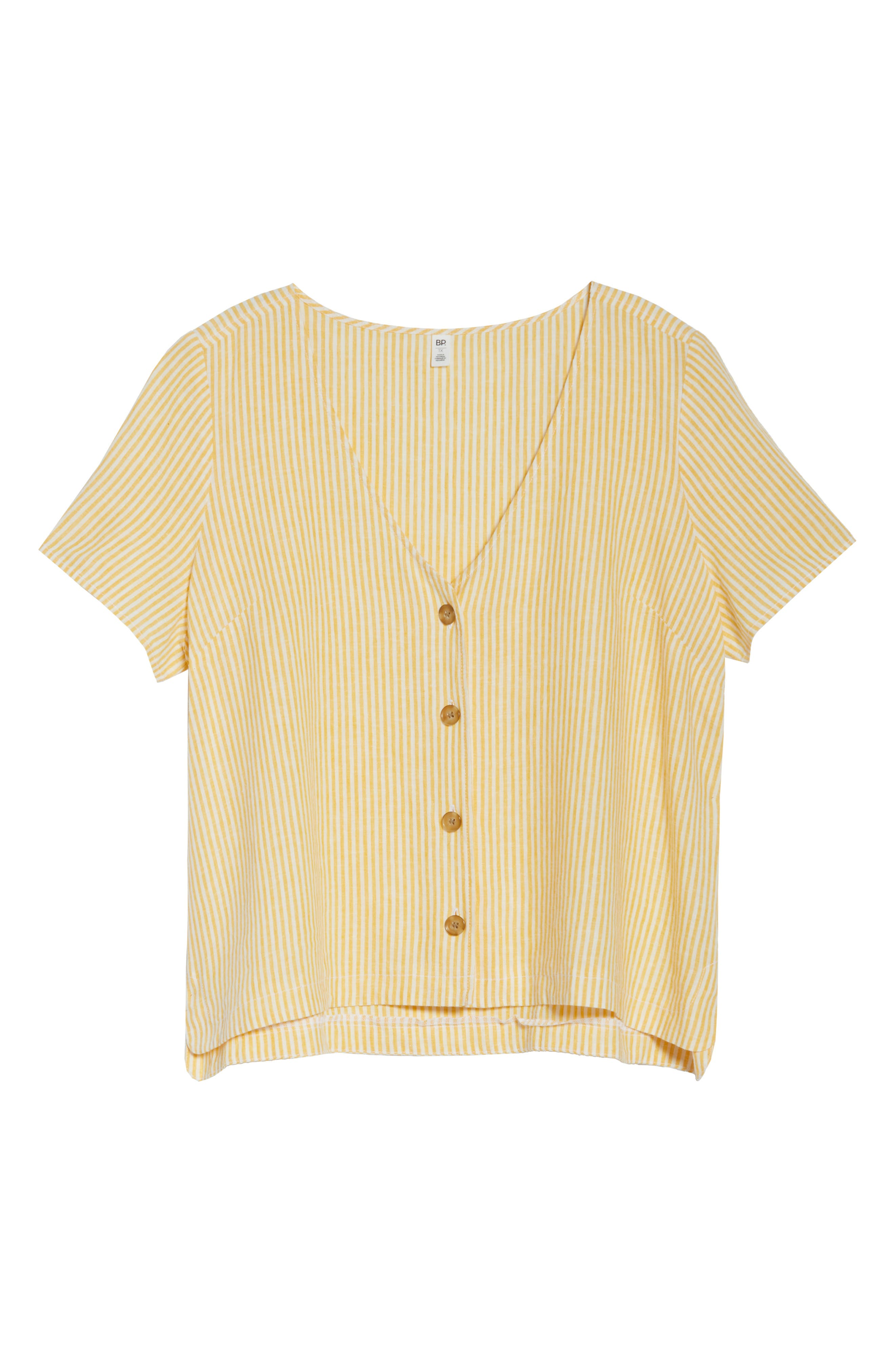 BP., Button Front Linen Blend Top, Alternate thumbnail 12, color, YELLOW WHIP MARA STRIPE