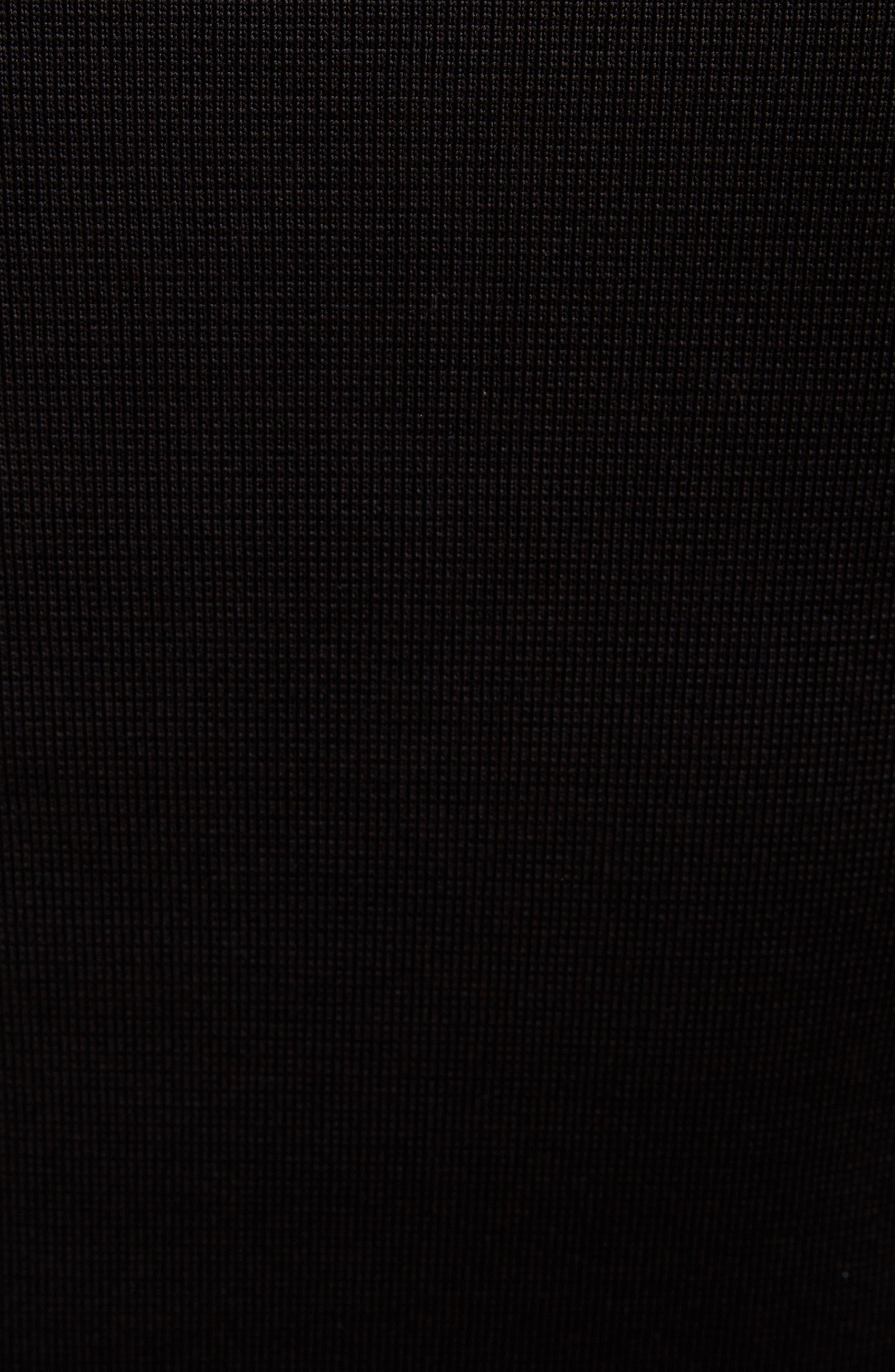 VICTORIA BECKHAM, Long Sleeve Off the Shoulder Asymmetrical Dress, Alternate thumbnail 5, color, BLACK