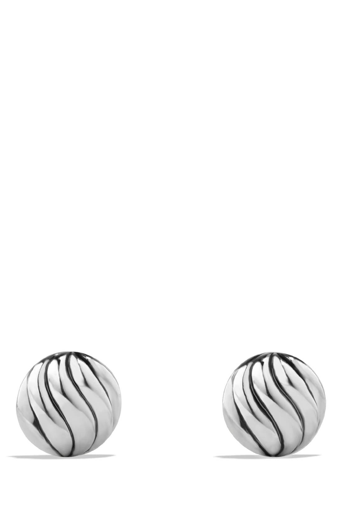 DAVID YURMAN, 'Sculpted Cable' Stud Earrings, Alternate thumbnail 3, color, SILVER