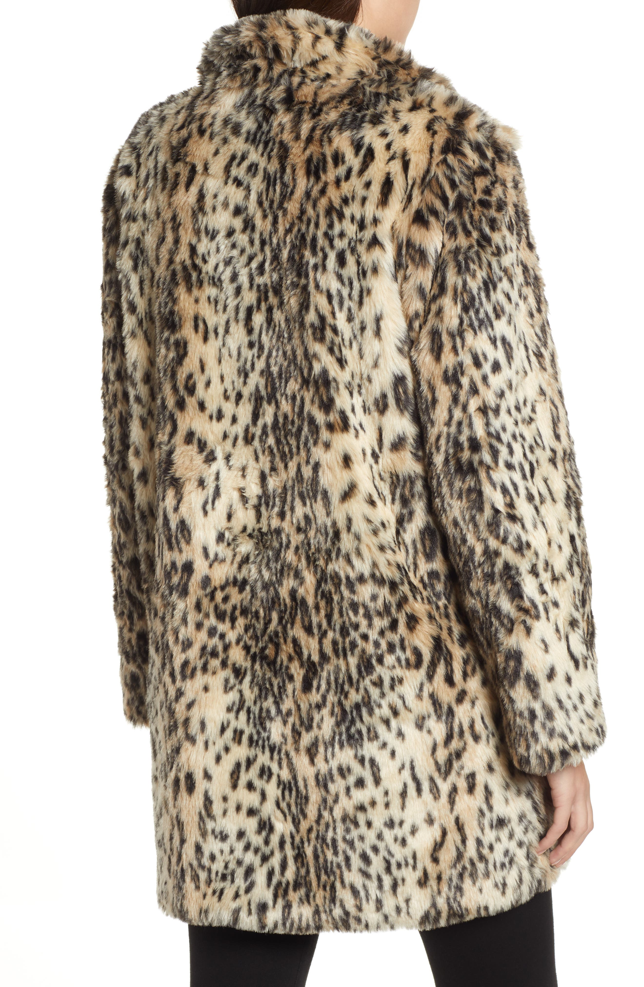 CUPCAKES AND CASHMERE, Leopard Faux Fur Coat, Alternate thumbnail 2, color, 009