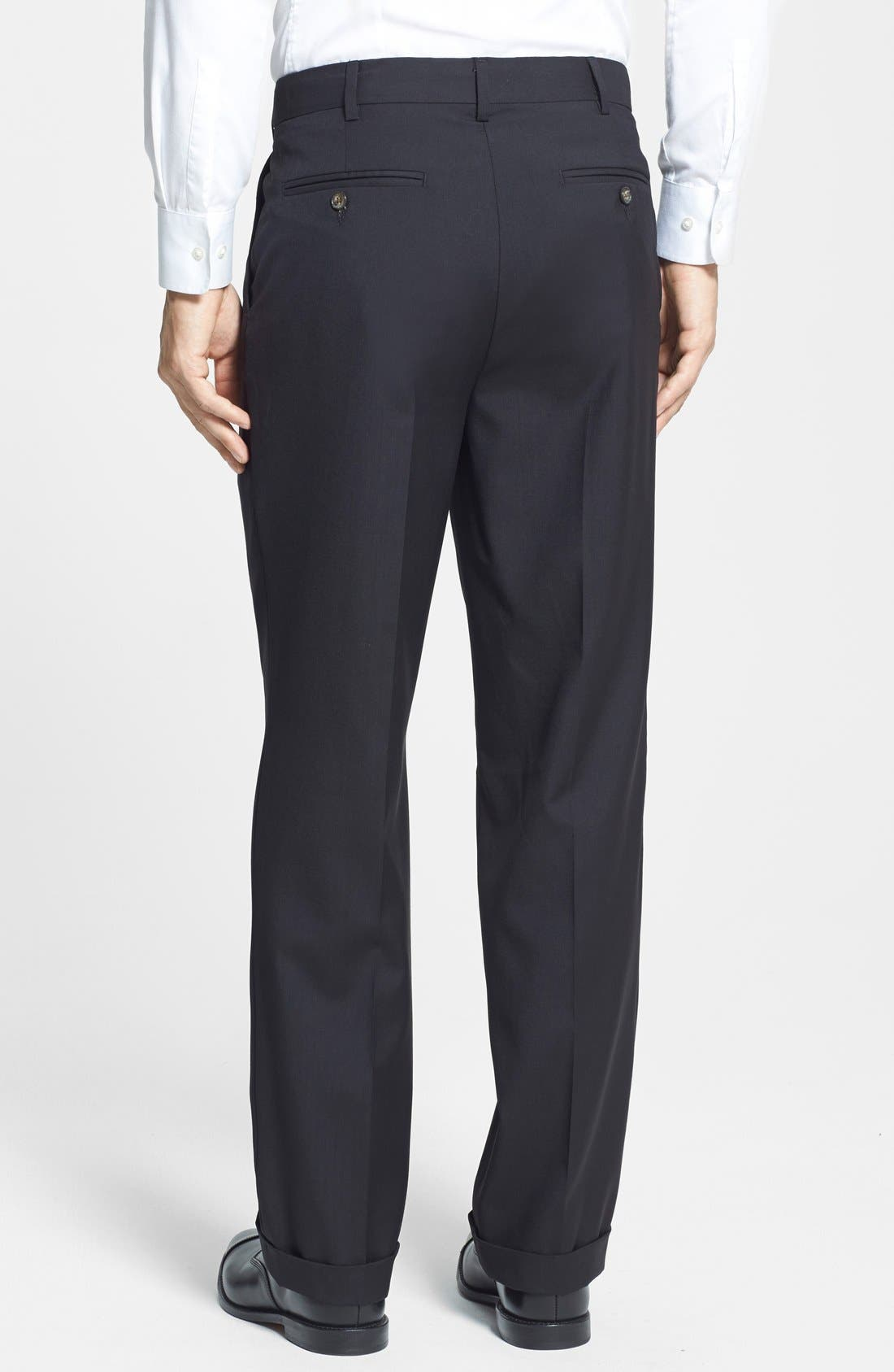 BERLE, Self Sizer Waist Pleated Trousers, Alternate thumbnail 6, color, BLACK