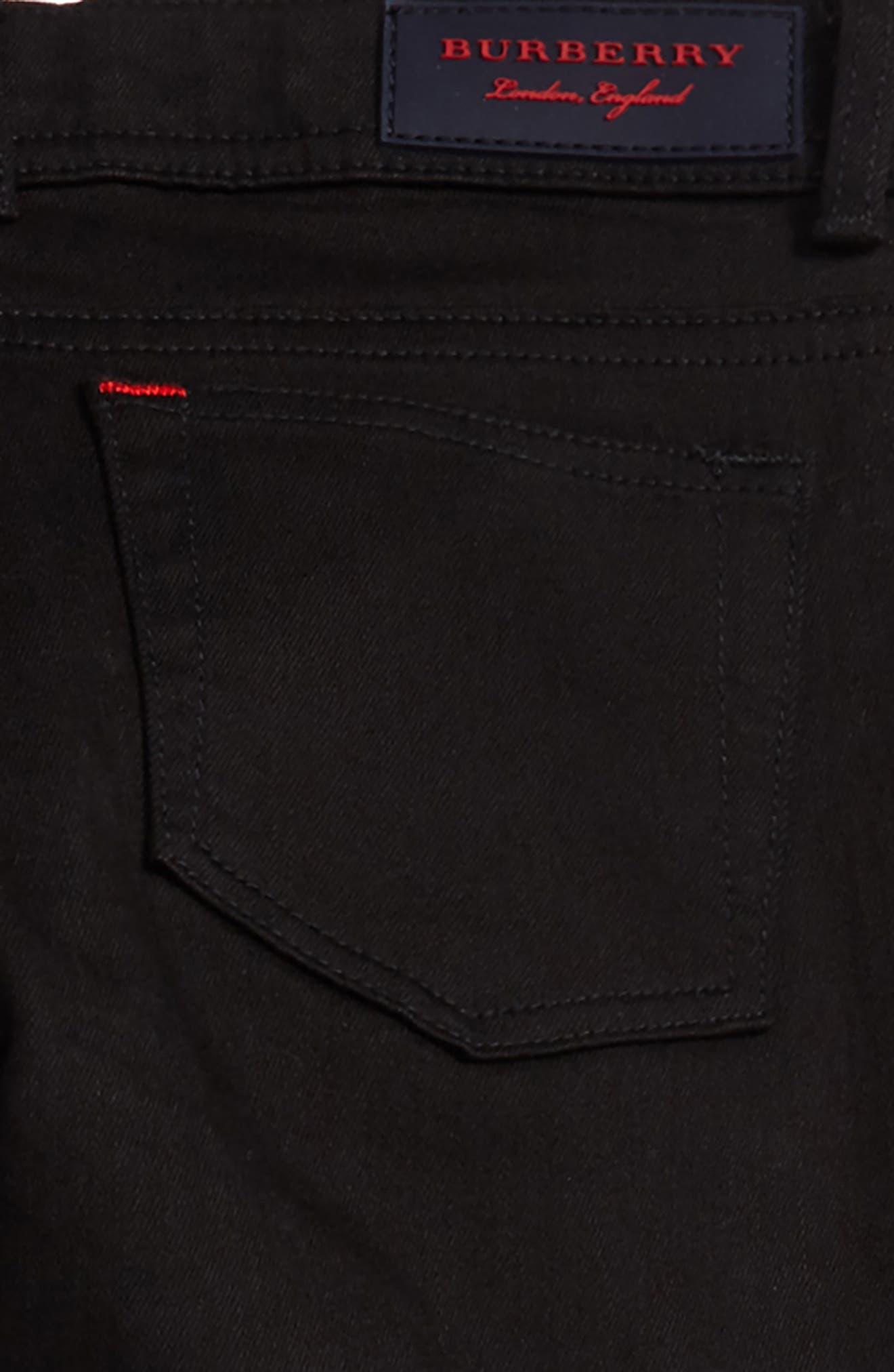 BURBERRY, Skinny Jeans, Alternate thumbnail 3, color, BLACK
