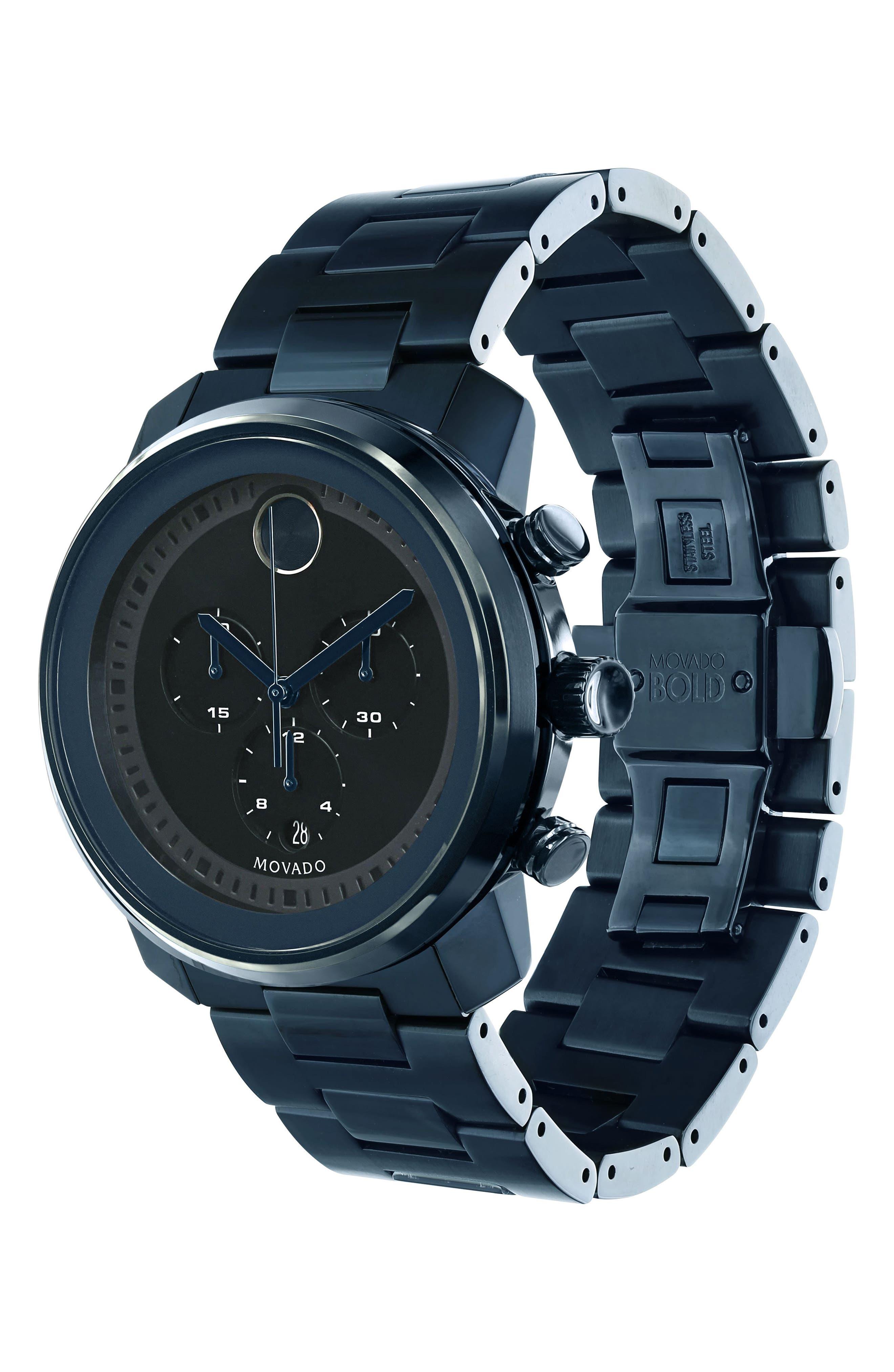 MOVADO, 'Bold' Chronograph Bracelet Watch, 44mm, Alternate thumbnail 3, color, BLUE