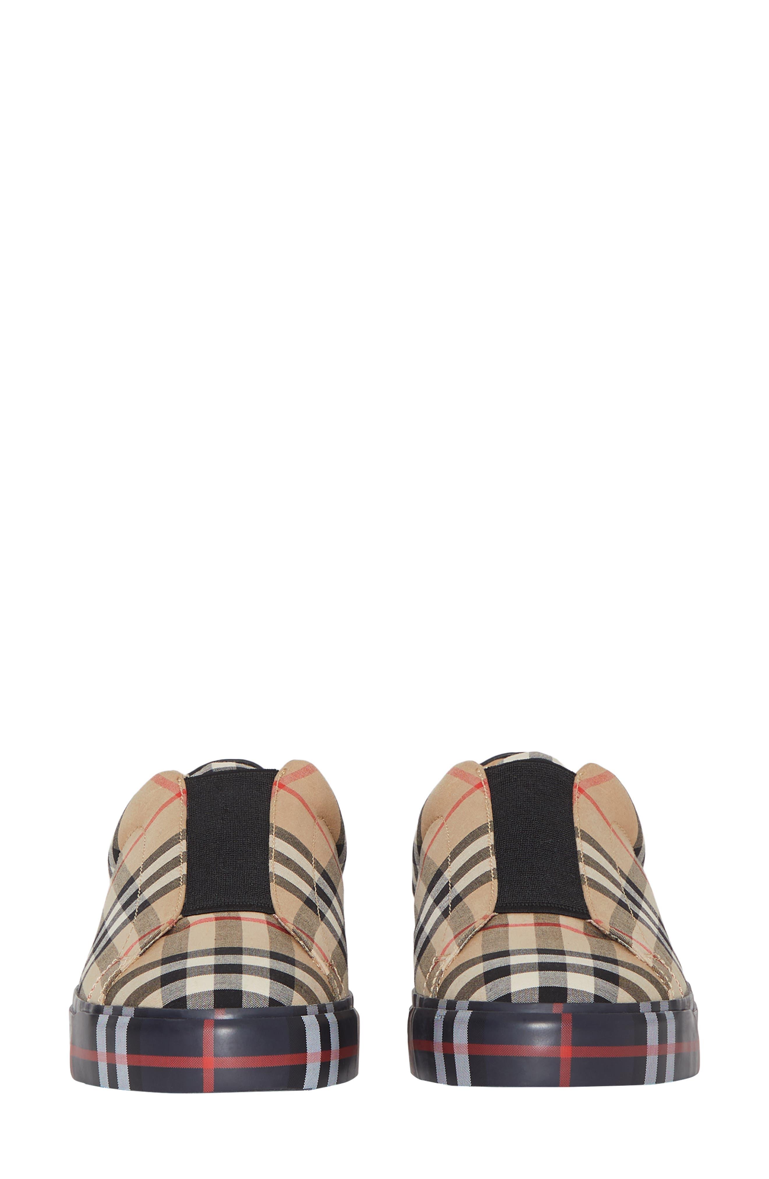 BURBERRY, Markham Vintage Check Slip-On Sneaker, Alternate thumbnail 4, color, BEIGE PLAID
