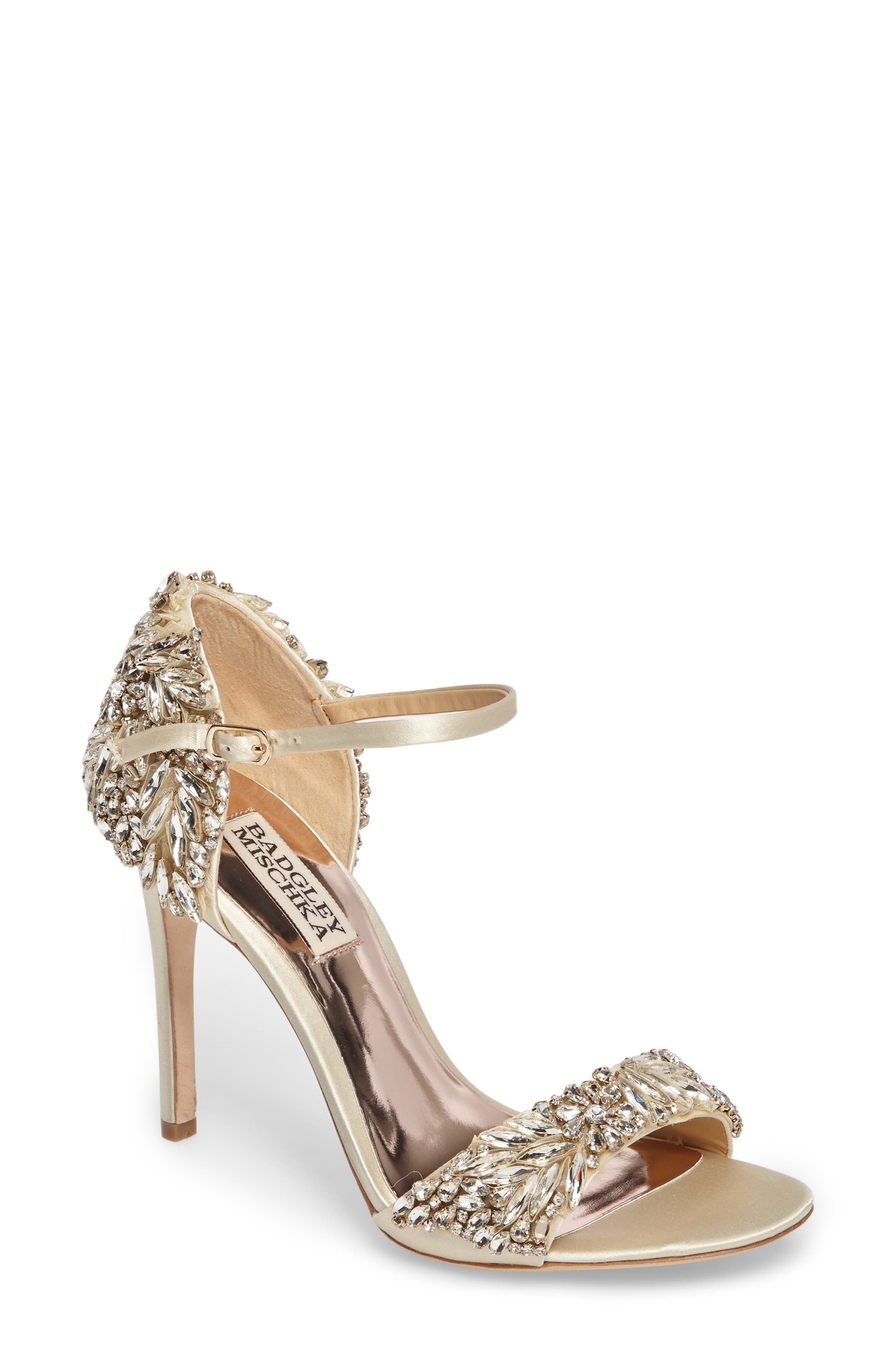 BADGLEY MISCHKA COLLECTION, Badgley Mischka Tampa Ankle Strap Sandal, Main thumbnail 1, color, IVORY SATIN