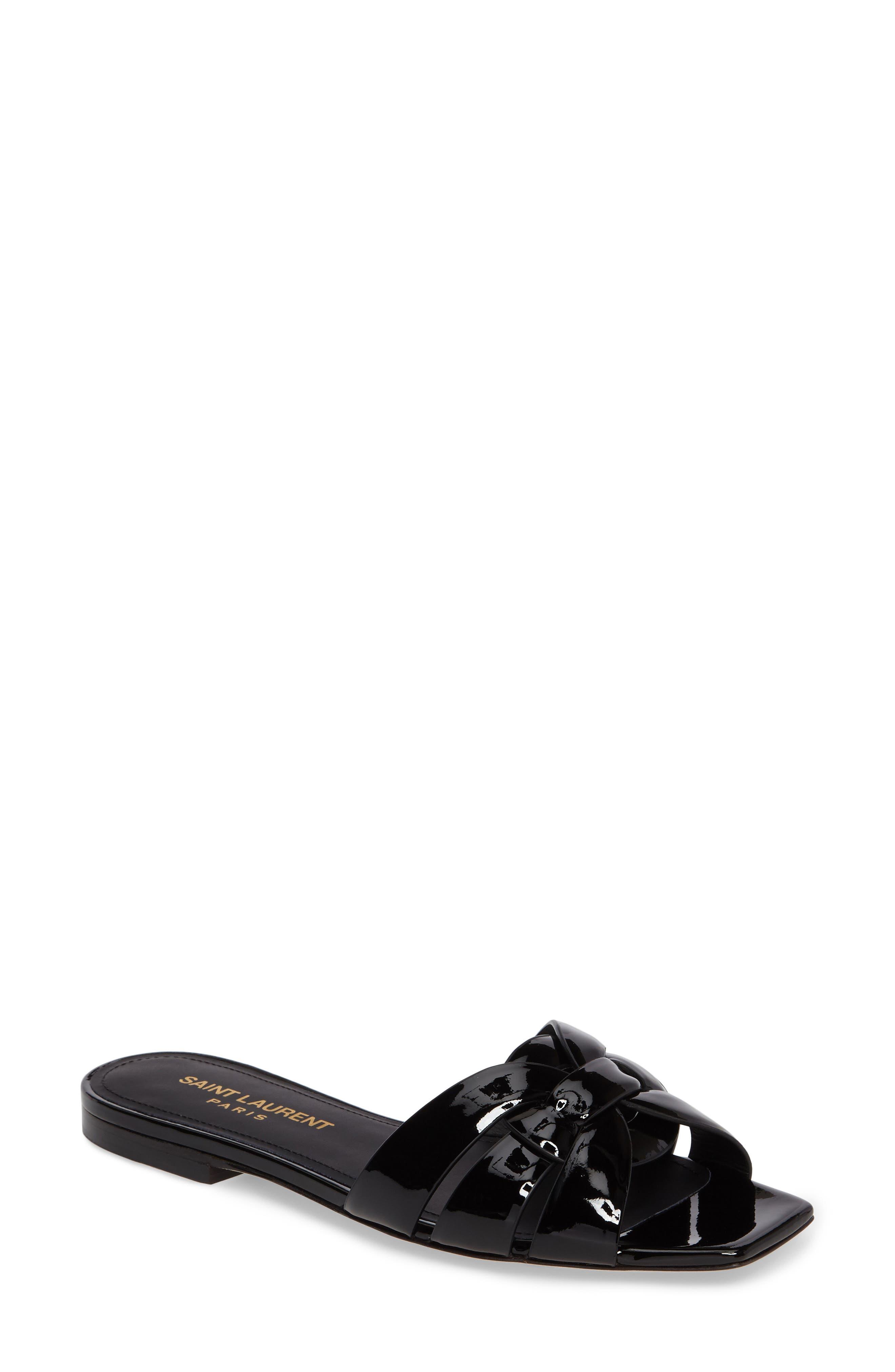 SAINT LAURENT, Tribute Slide Sandal, Main thumbnail 1, color, BLACK PATENT