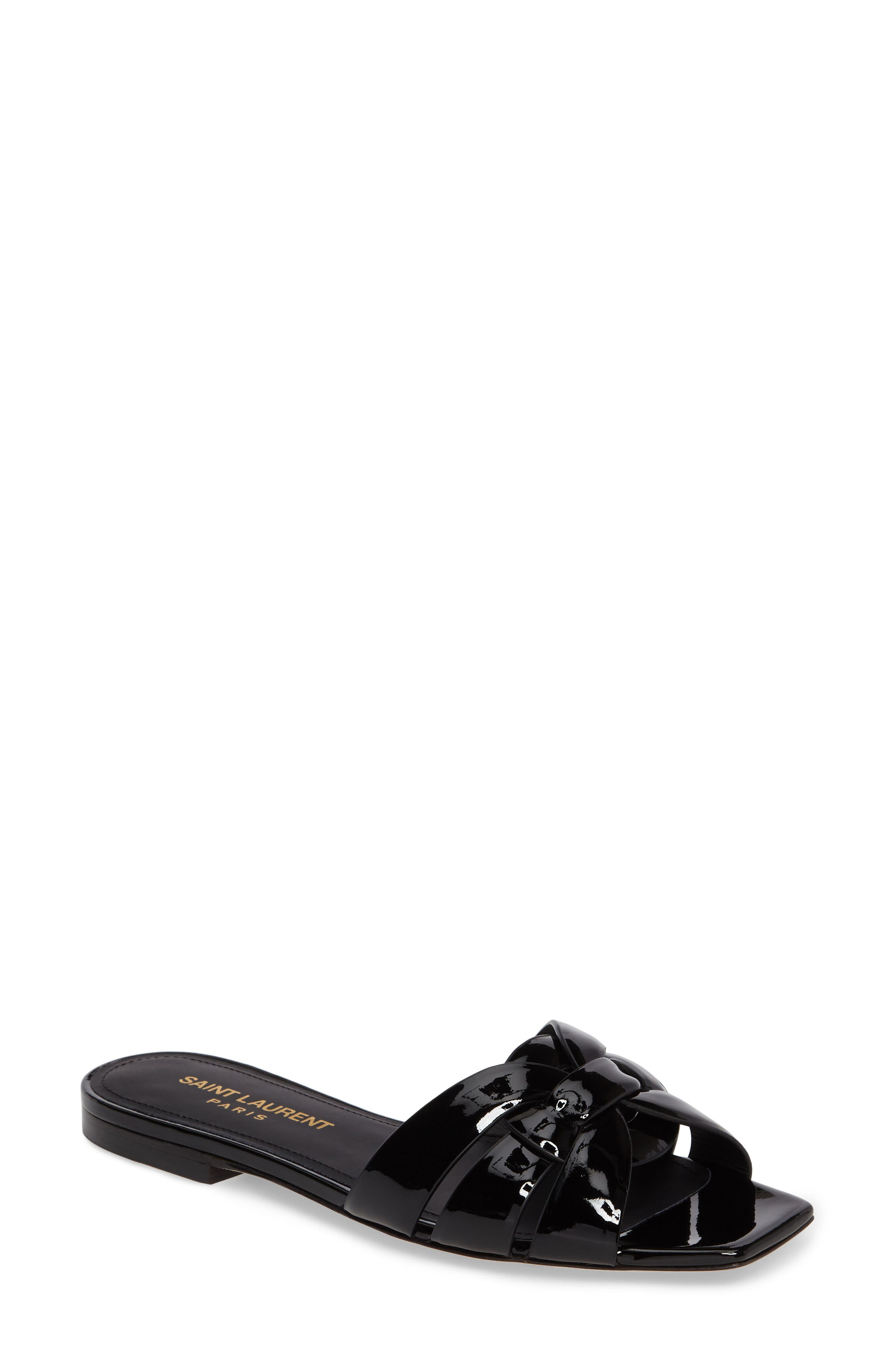 SAINT LAURENT Tribute Slide Sandal, Main, color, BLACK PATENT