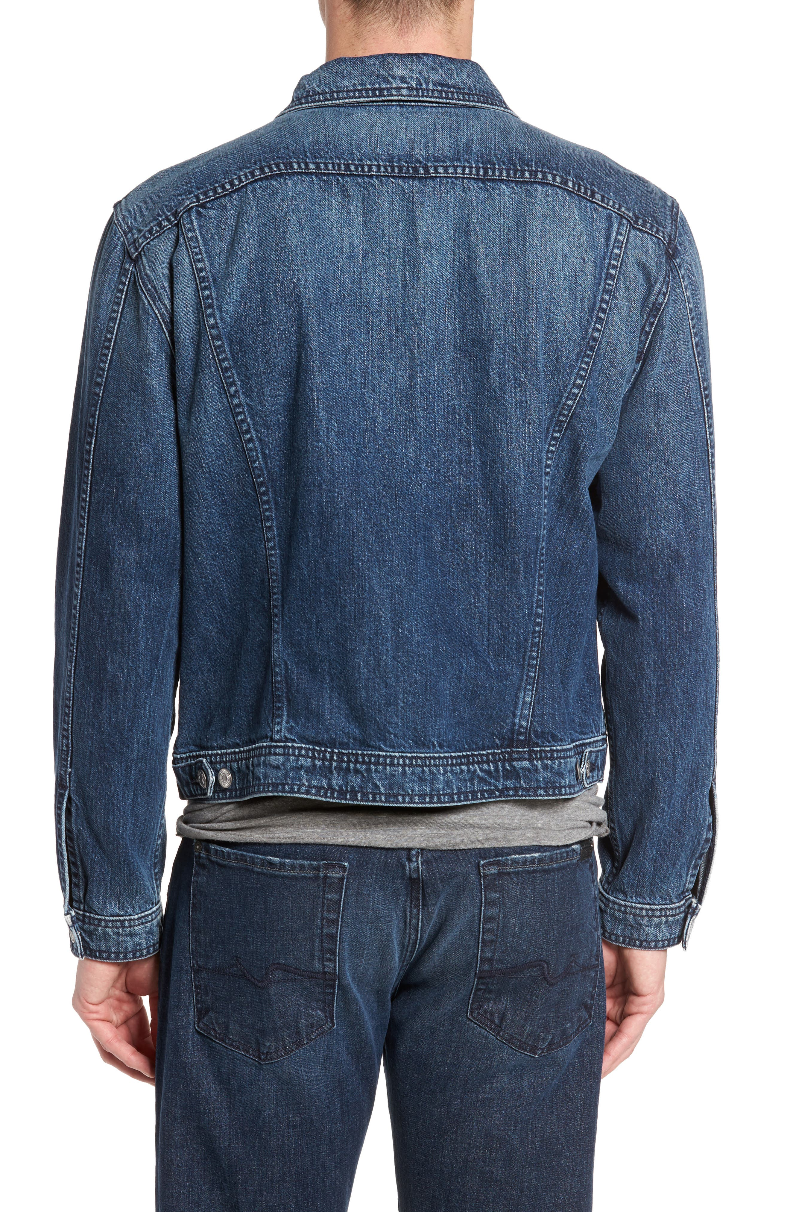 7 FOR ALL MANKIND<SUP>®</SUP>, Inside Out Trucker Jacket, Alternate thumbnail 2, color, VINTAGE BLUE