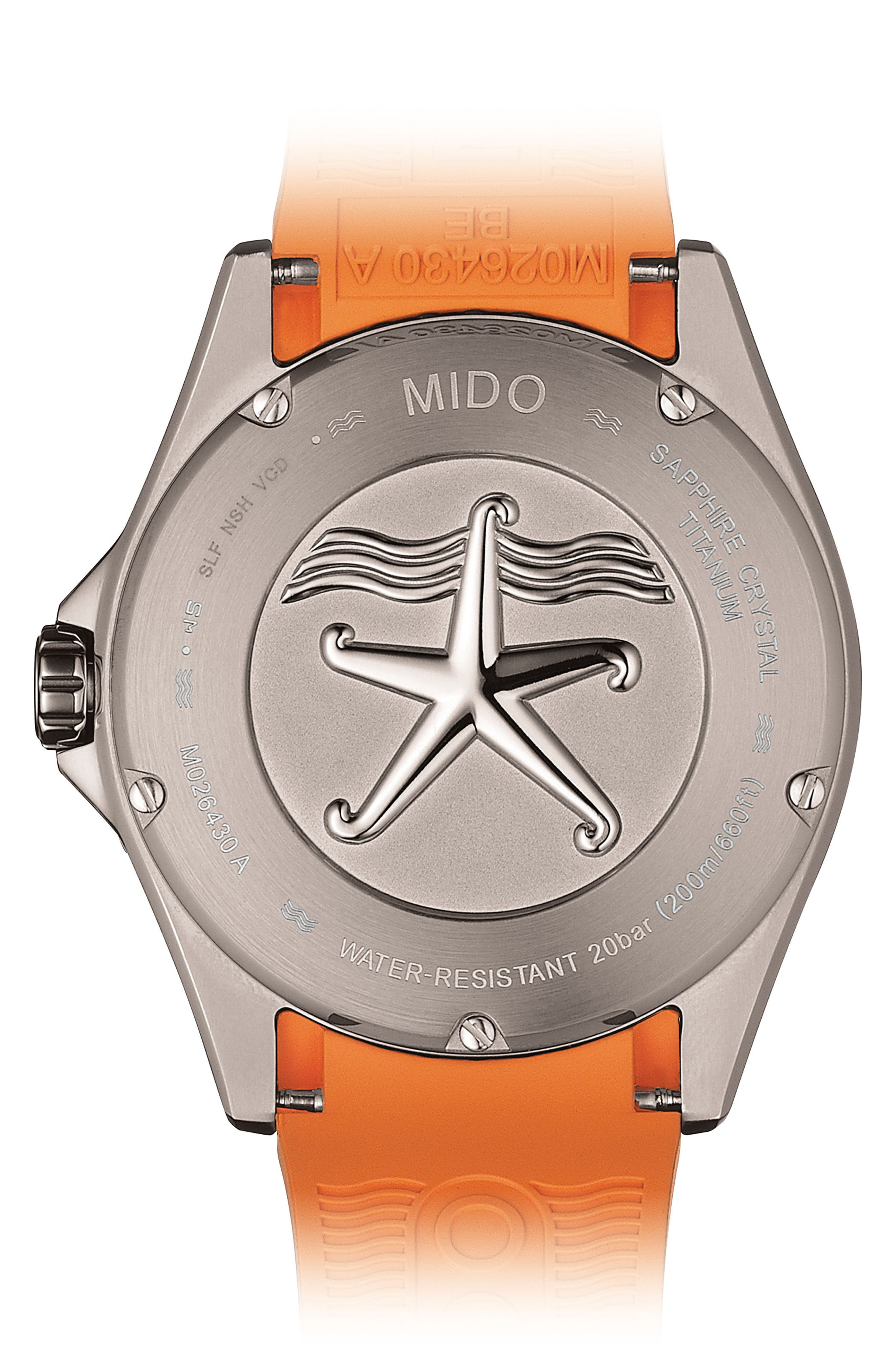 MIDO, Ocean Star Automatic Rubber Strap Watch, 42mm, Alternate thumbnail 2, color, GREY