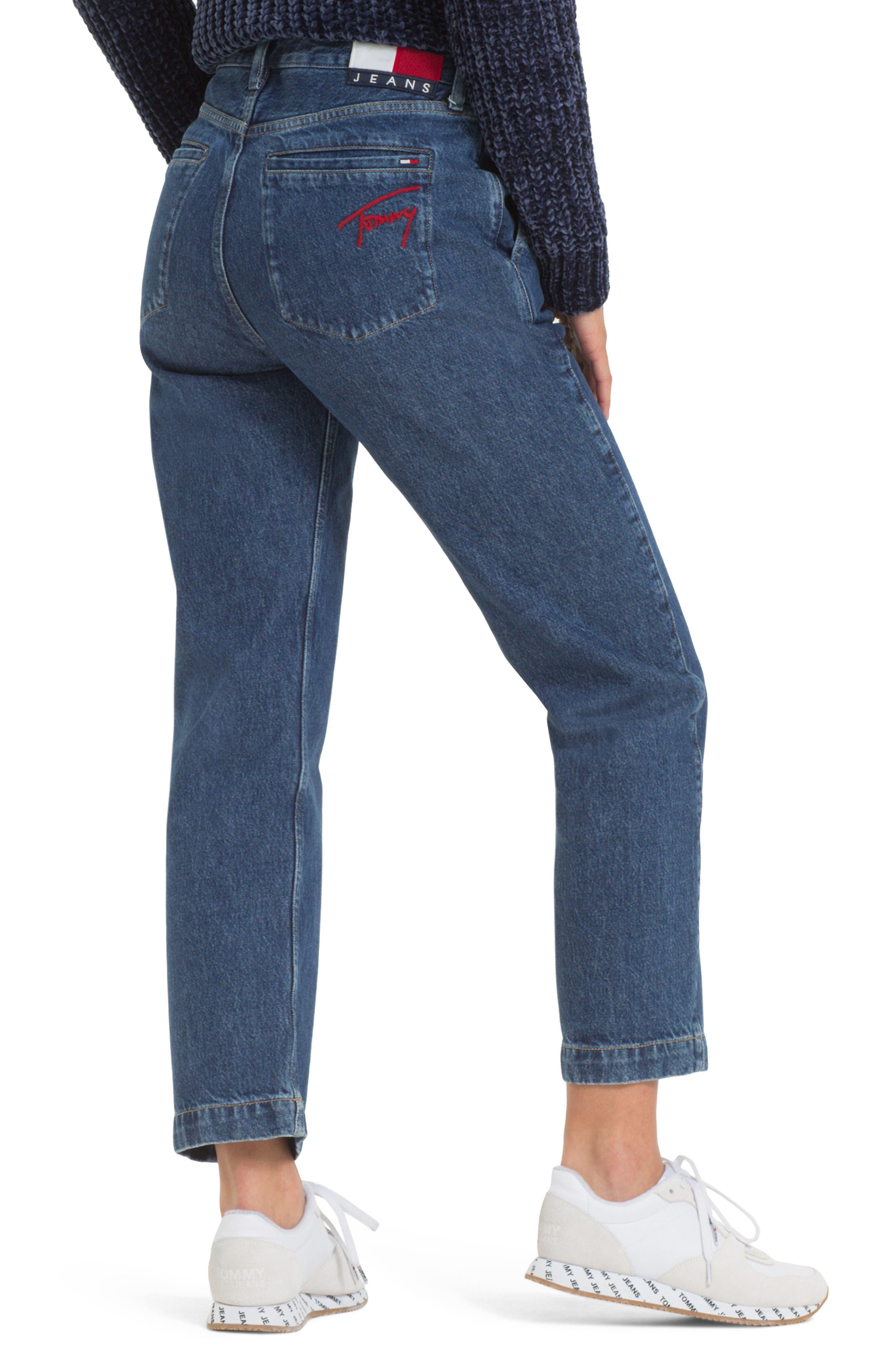 TOMMY JEANS, TJW Straight Leg Jeans, Alternate thumbnail 2, color, 400