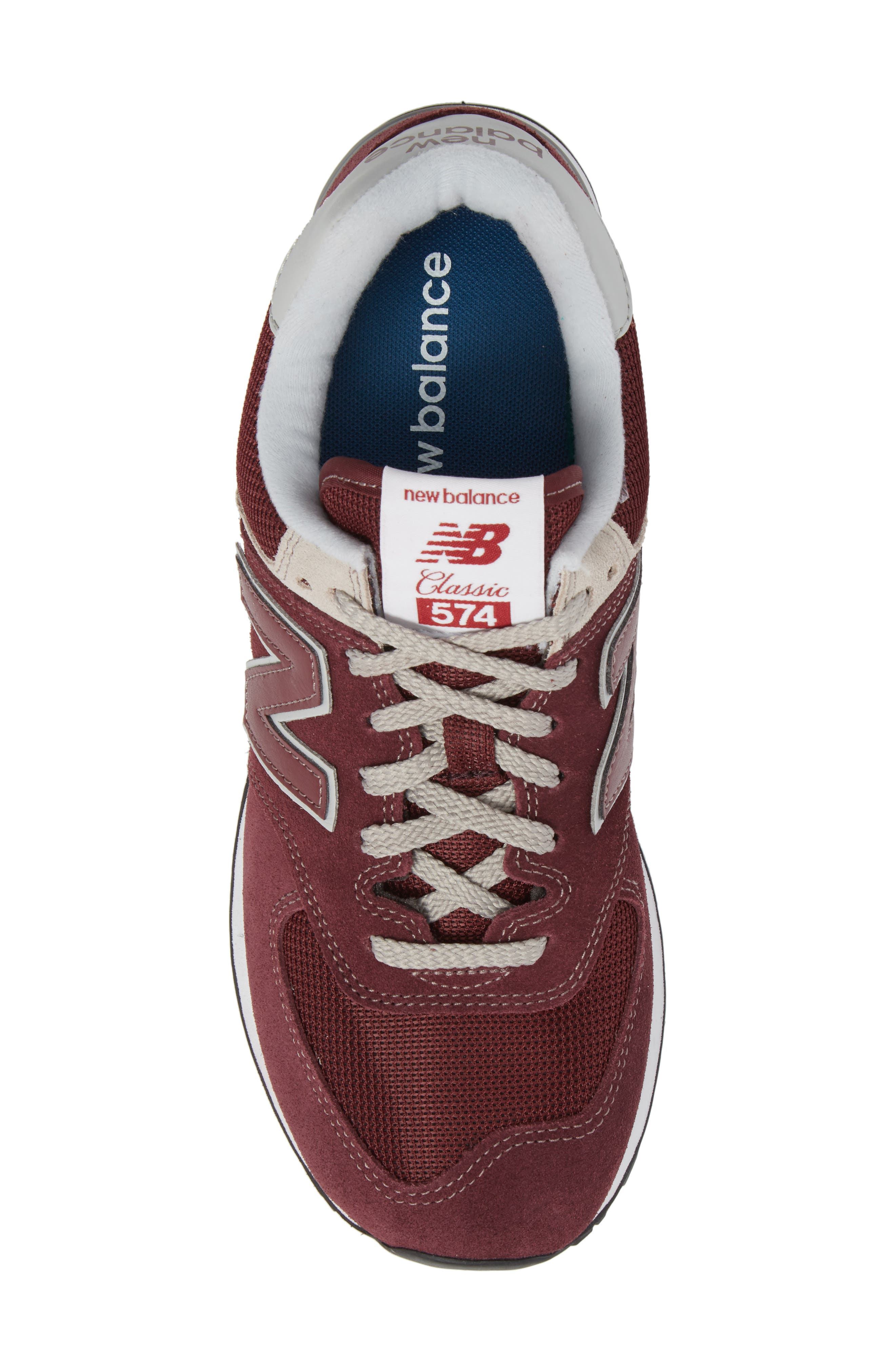 NEW BALANCE, 574 Classic Sneaker, Alternate thumbnail 5, color, BURGUNDY