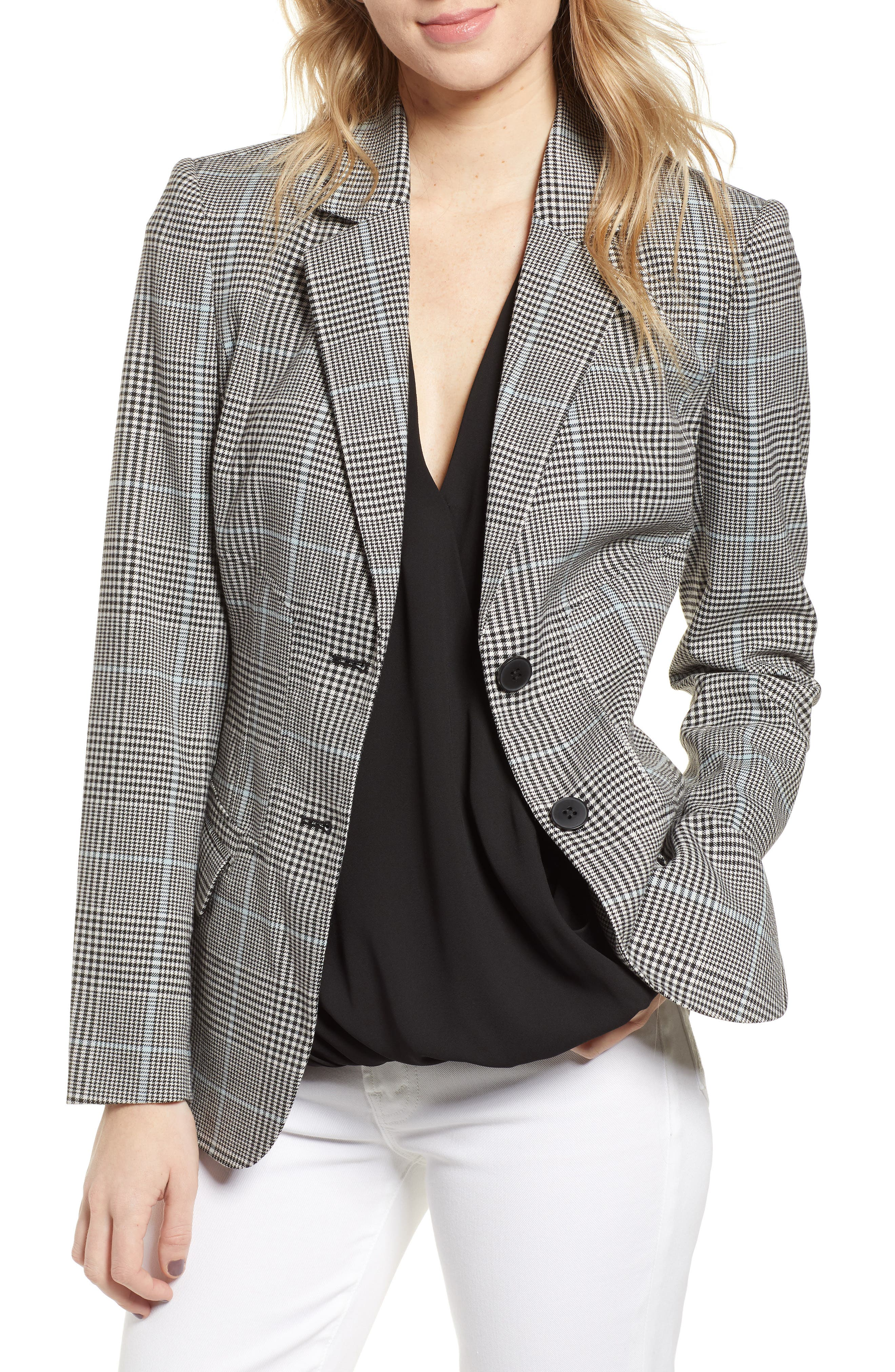 CHELSEA28, Plaid Blazer, Main thumbnail 1, color, BLUE OMPHALODES CHECK PATTERN