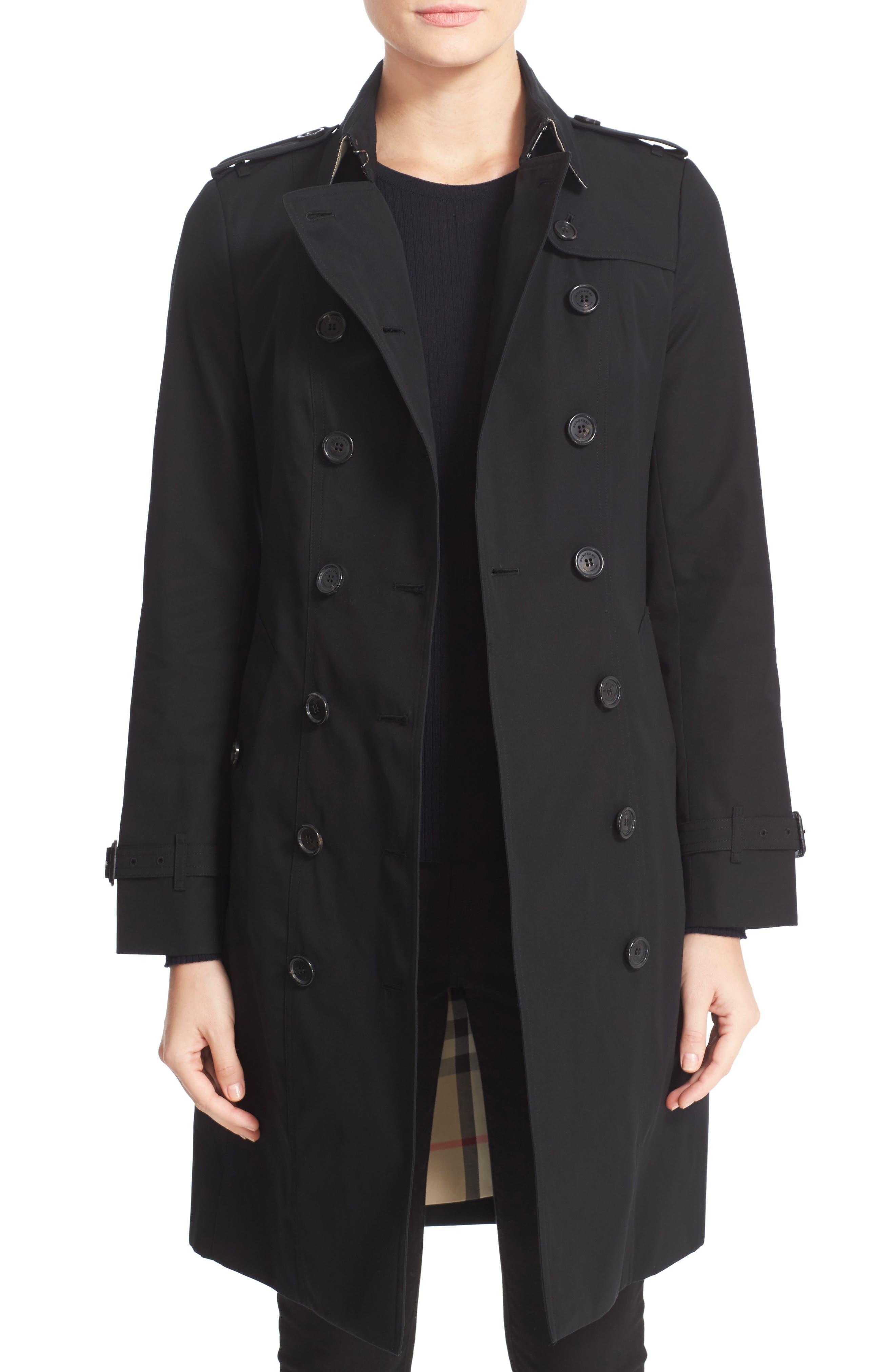 BURBERRY, Sandringham Long Slim Trench Coat, Main thumbnail 1, color, BLACK