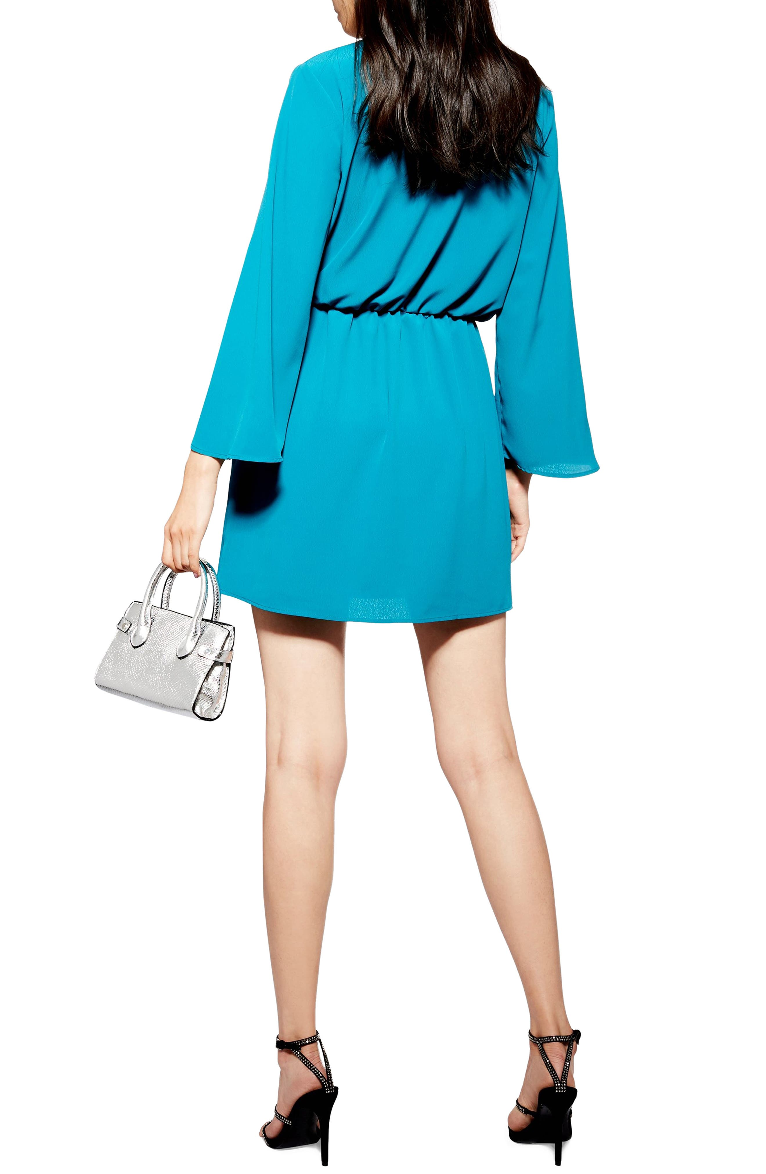 TOPSHOP, Tiffany Knot Minidress, Alternate thumbnail 2, color, TEAL