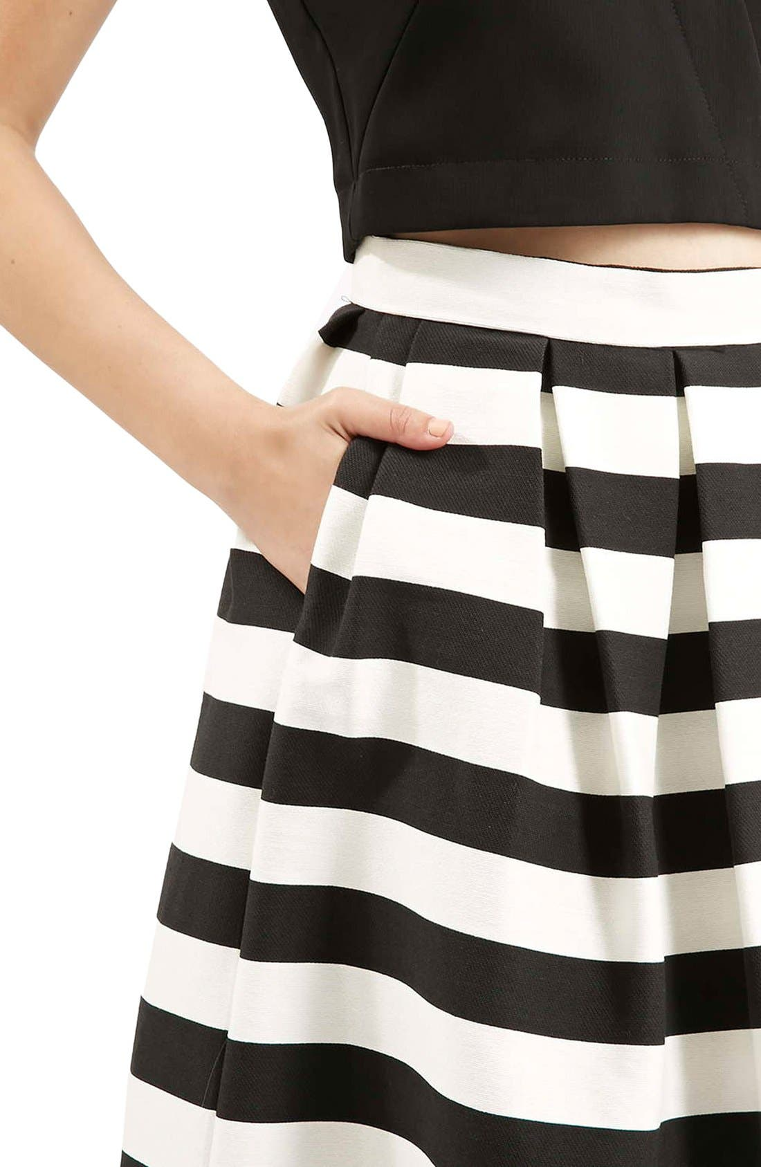 TOPSHOP, Stripe Midi Skirt, Alternate thumbnail 3, color, 001