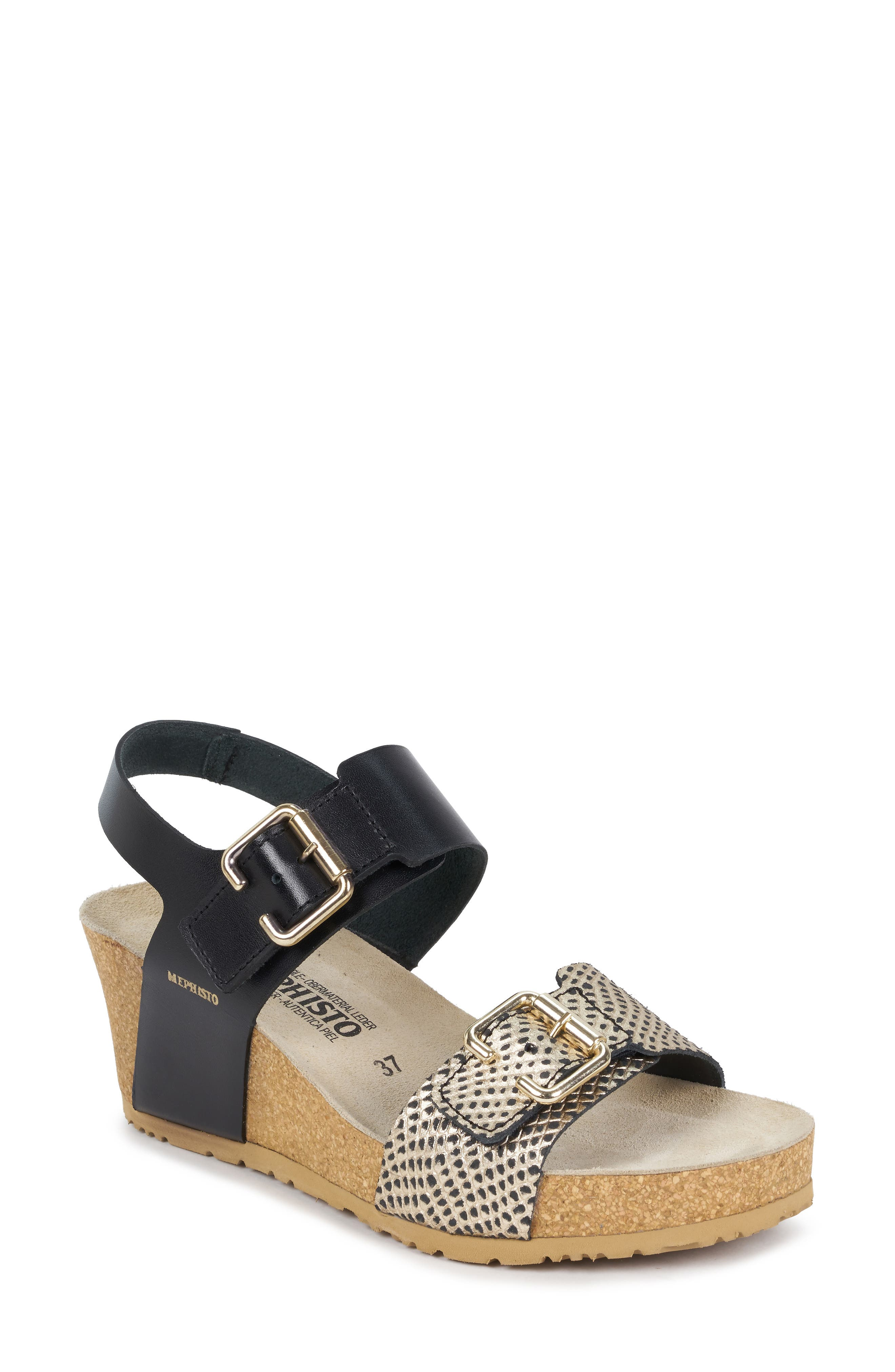 MEPHISTO, Lissandra Platform Wedge Sandal, Main thumbnail 1, color, BLACK/ GOLD LEATHER