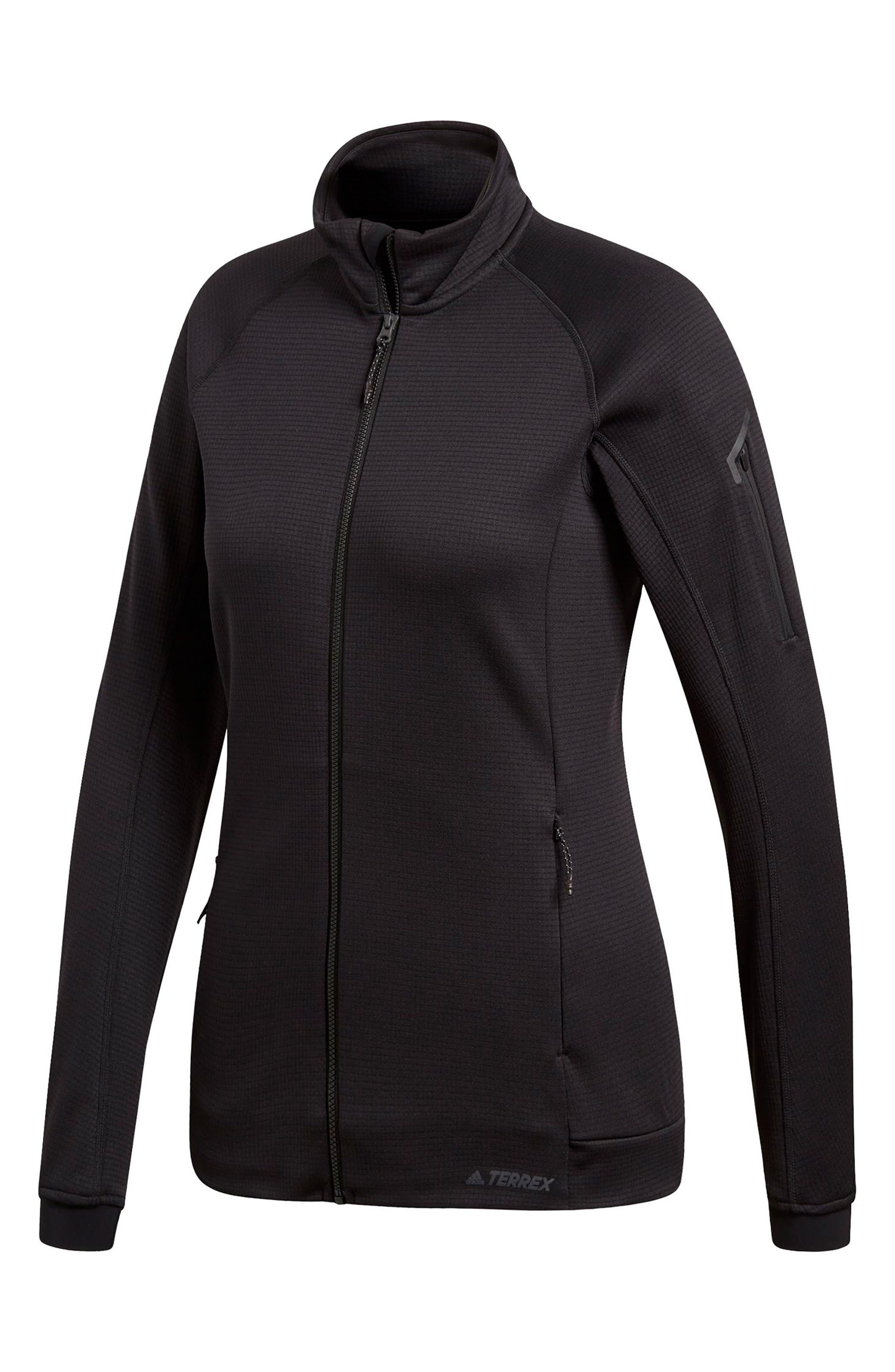 ADIDAS, Stockhorn Fleece Jacket, Alternate thumbnail 6, color, BLACK