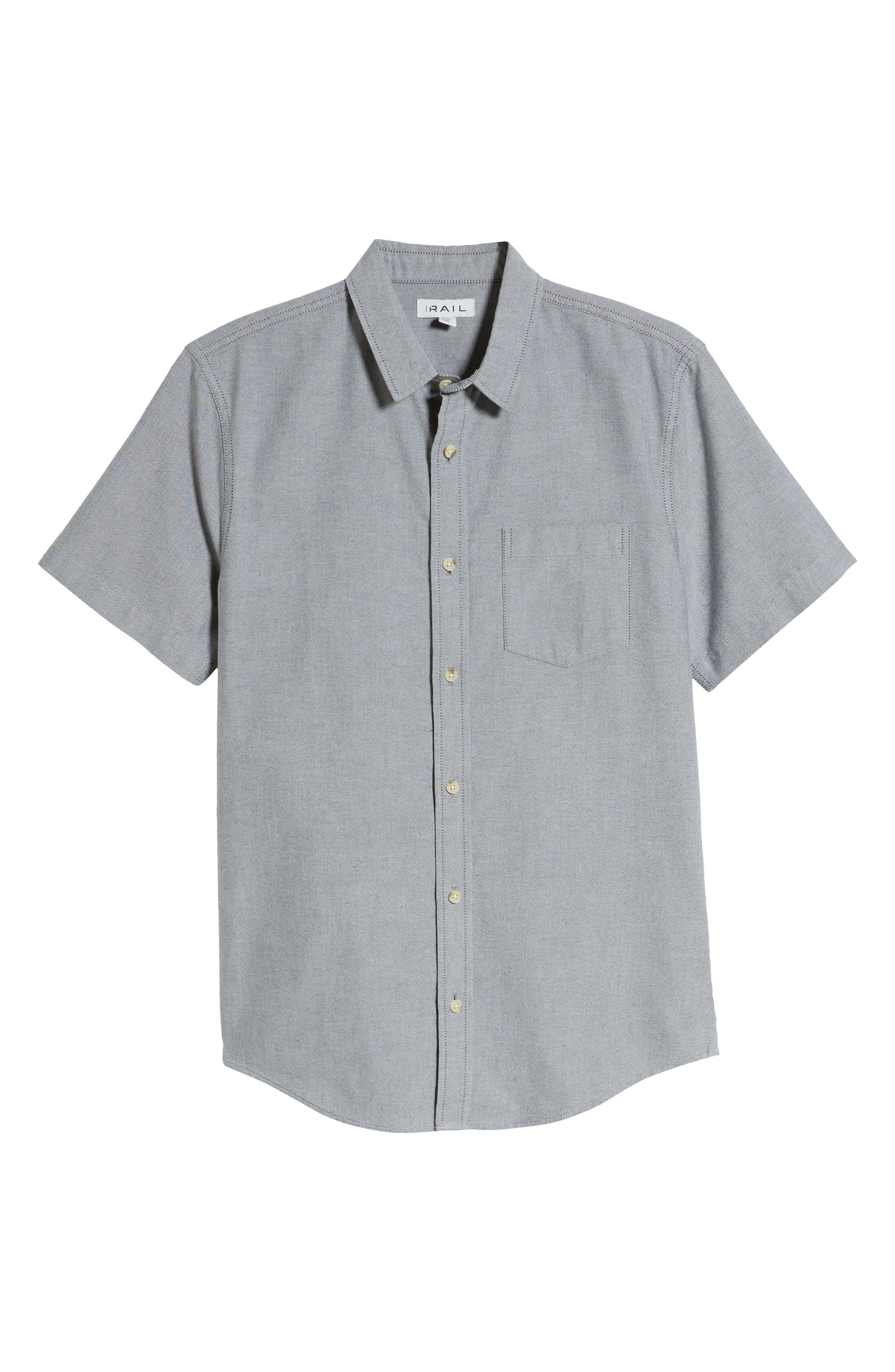 THE RAIL, Oxford Cloth Woven Shirt, Alternate thumbnail 5, color, BLACK ROCK-WHITE