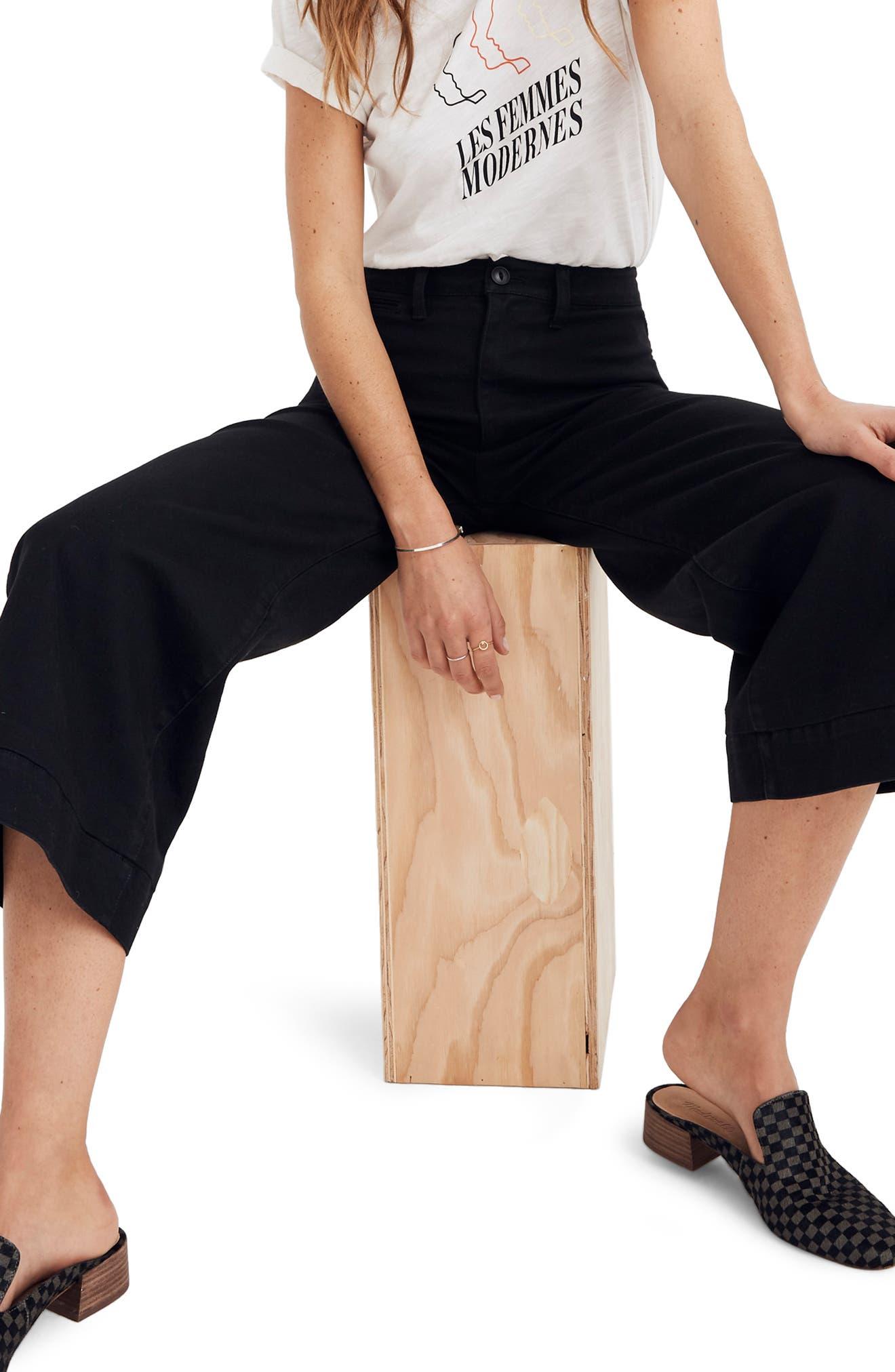 MADEWELL, Emmett Crop Wide Leg Pants, Main thumbnail 1, color, CLASSIC BLACK