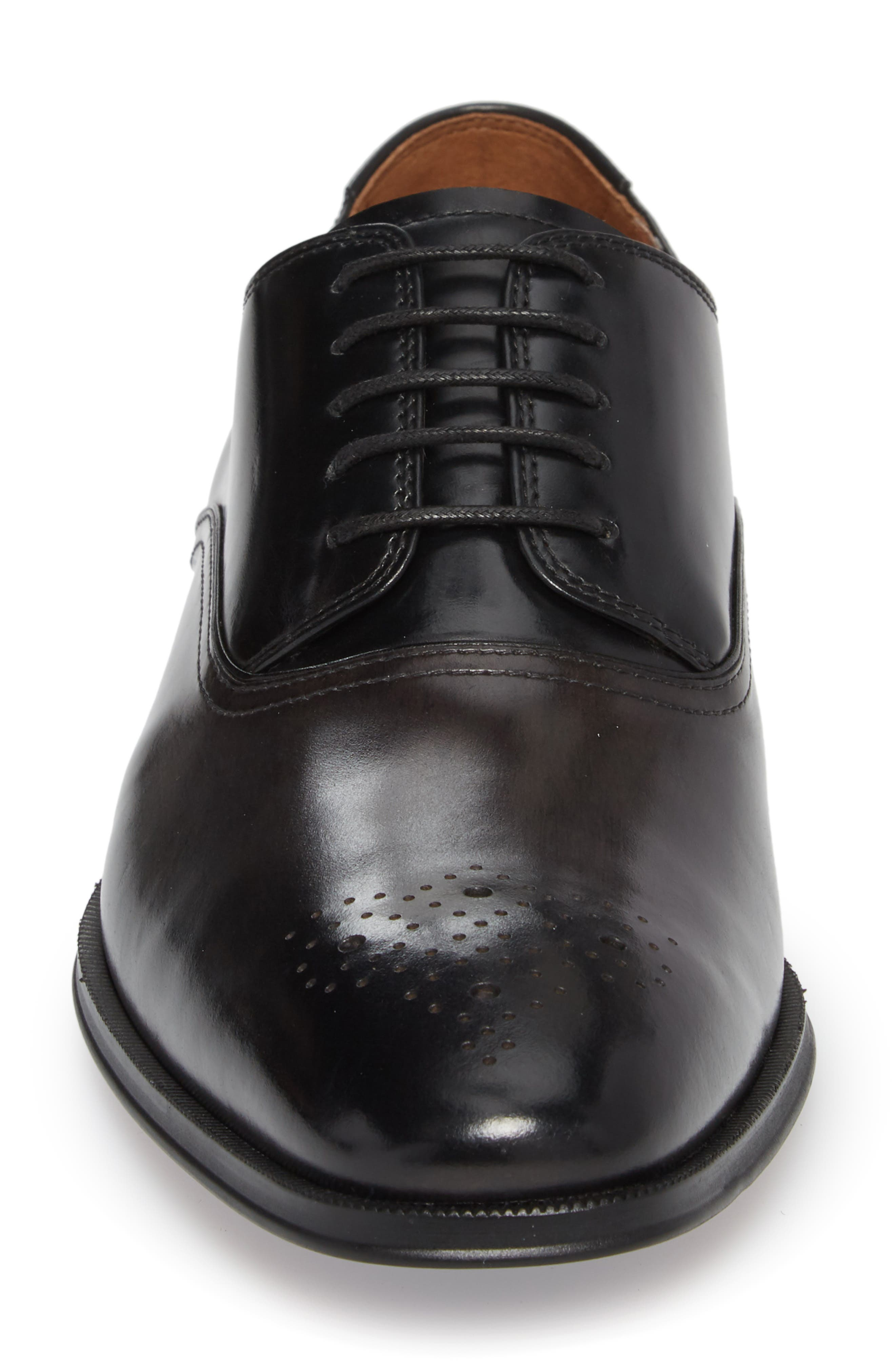 FLORSHEIM, Belfast Brogued Derby, Alternate thumbnail 4, color, GRAY/ BLACK LEATHER