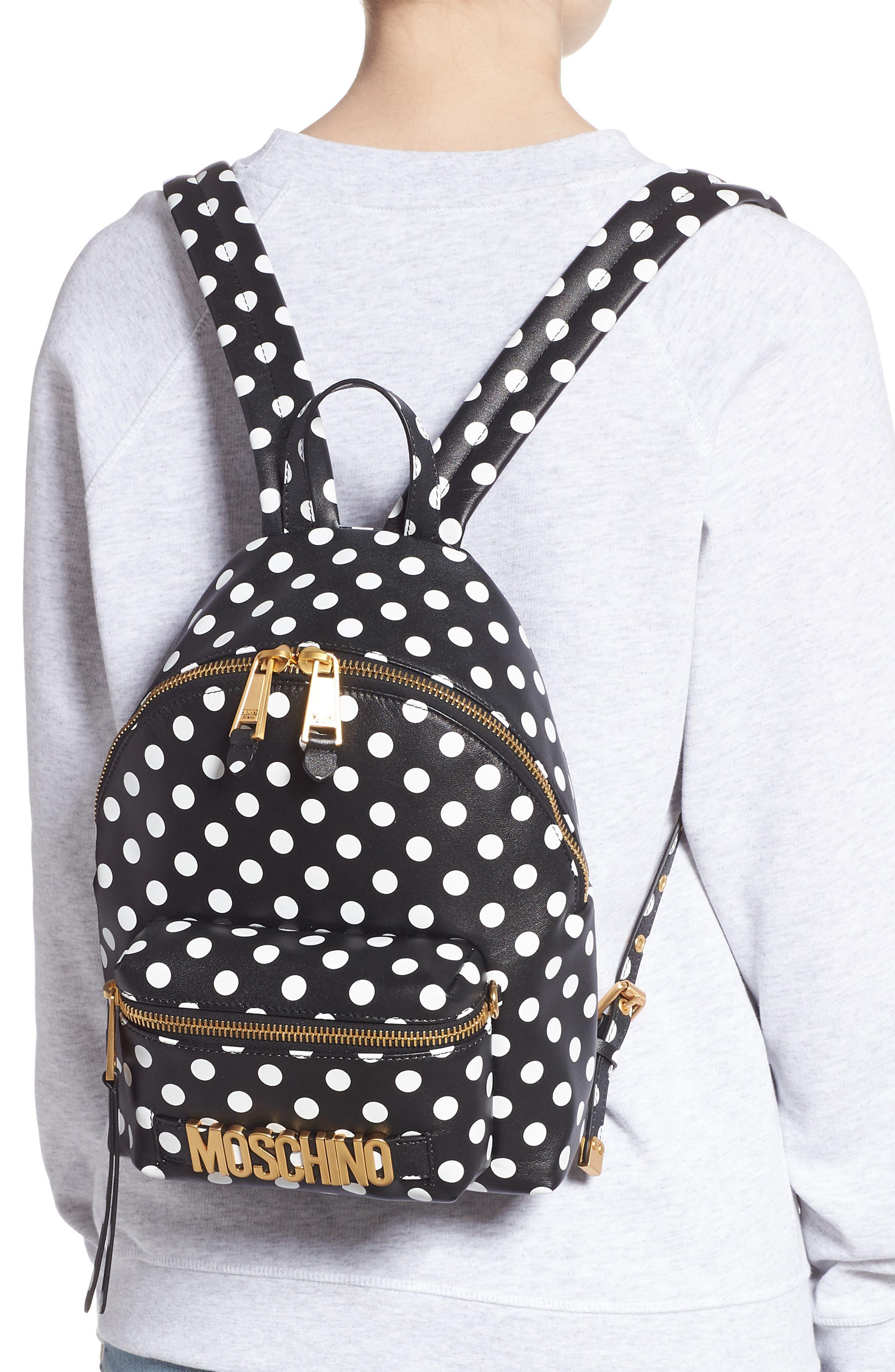 MOSCHINO, Logo Polka Dot Backpack, Alternate thumbnail 2, color, BLACK/ WHITE