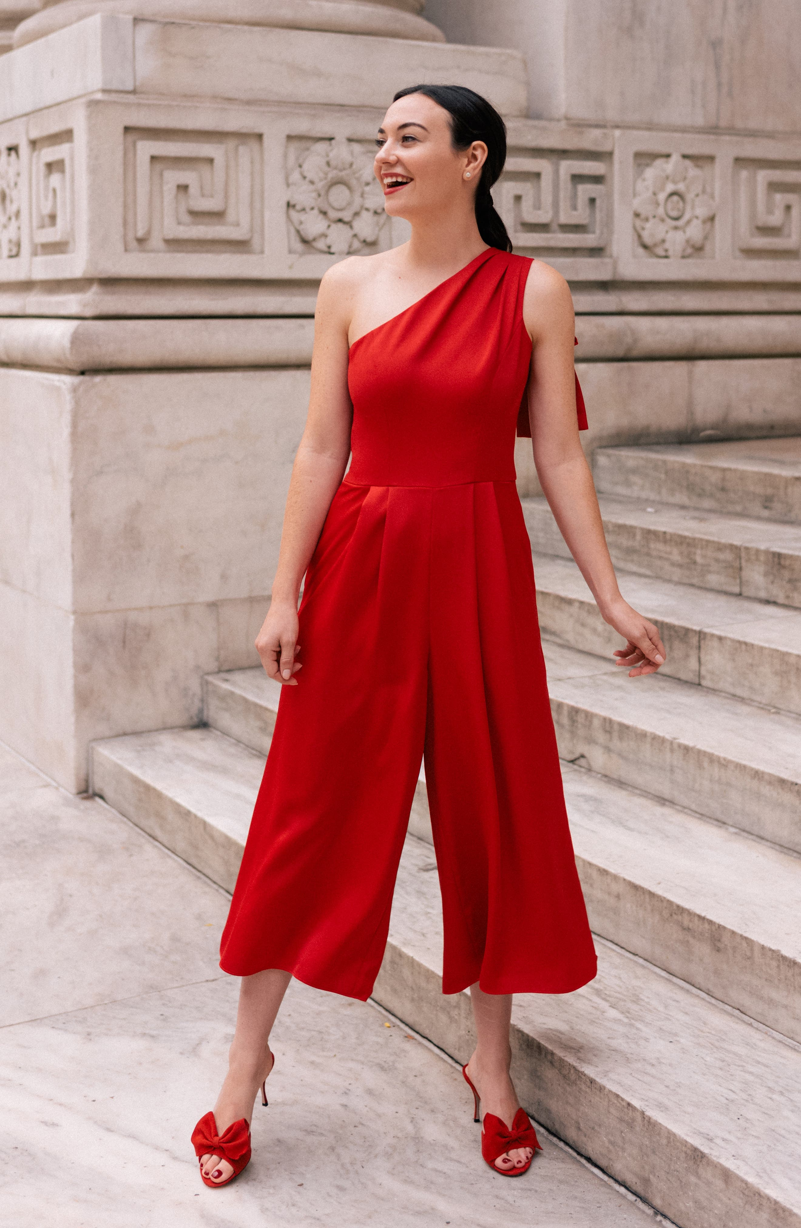 GAL MEETS GLAM COLLECTION, Carmen One-Shoulder Crepe Jumpsuit, Alternate thumbnail 5, color, 603