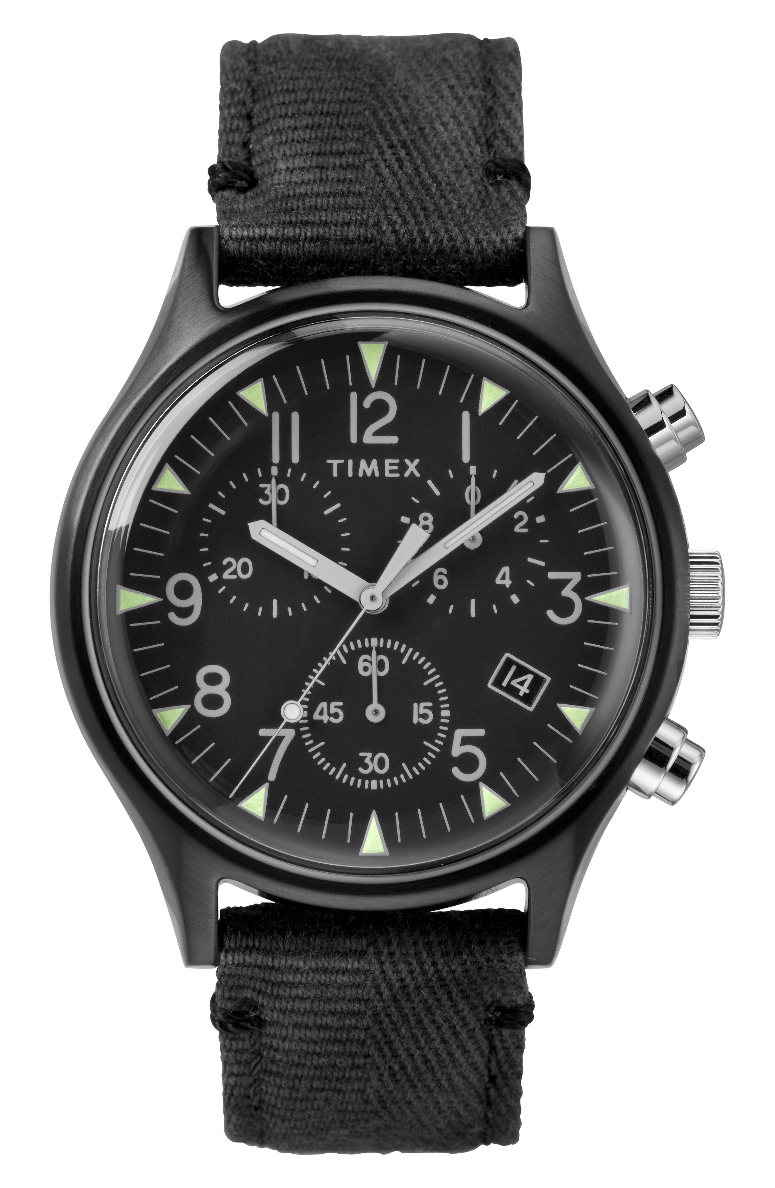 TIMEX<SUP>®</SUP>, MK1 Chronograph Fabric Strap Watch, 42mm, Main thumbnail 1, color, BLACK