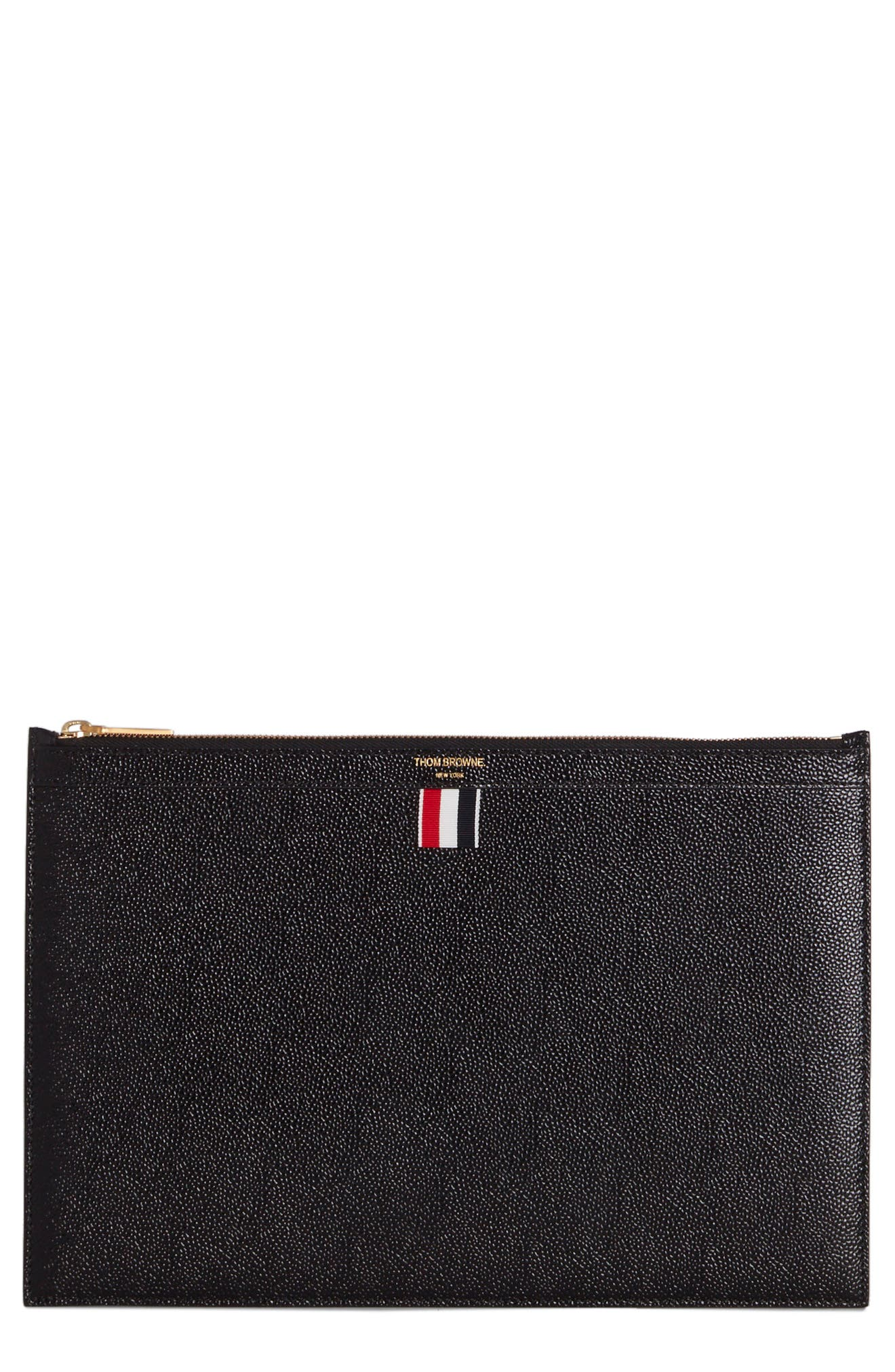 THOM BROWNE Leather Zip Folio Pouch, Main, color, BLACK