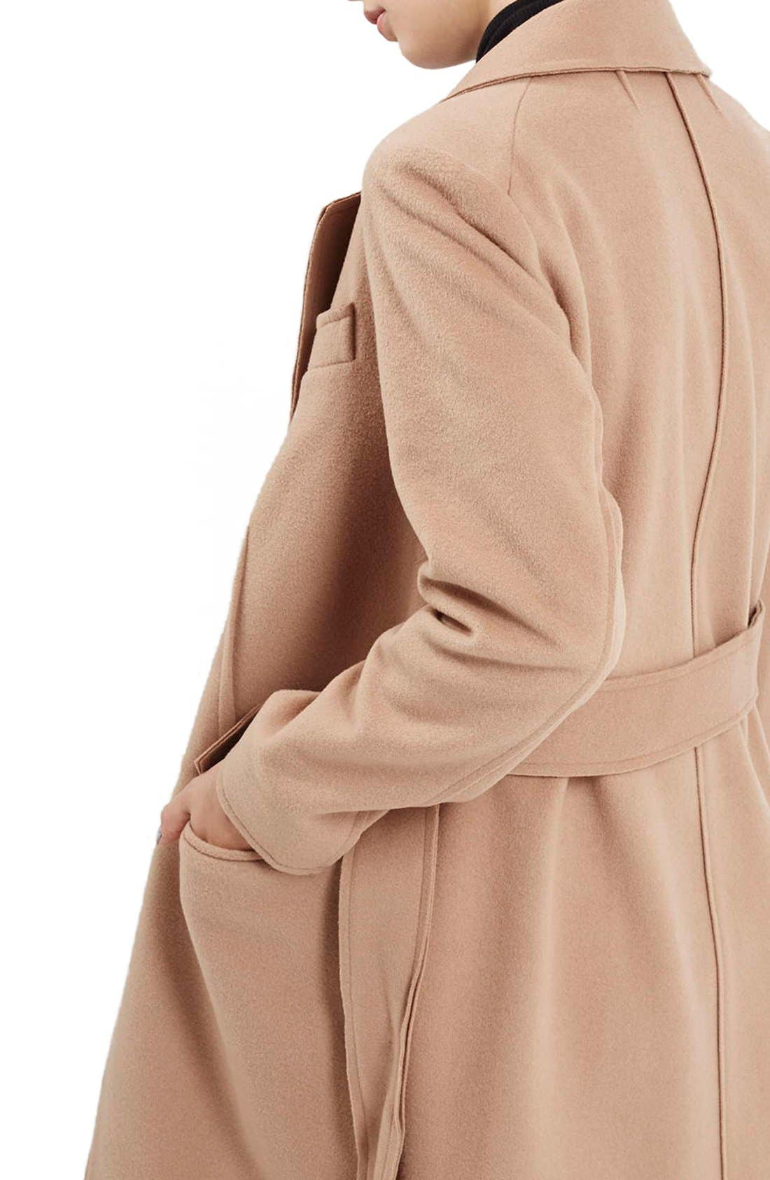 TOPSHOP BOUTIQUE, Wrap Coat, Alternate thumbnail 2, color, 252