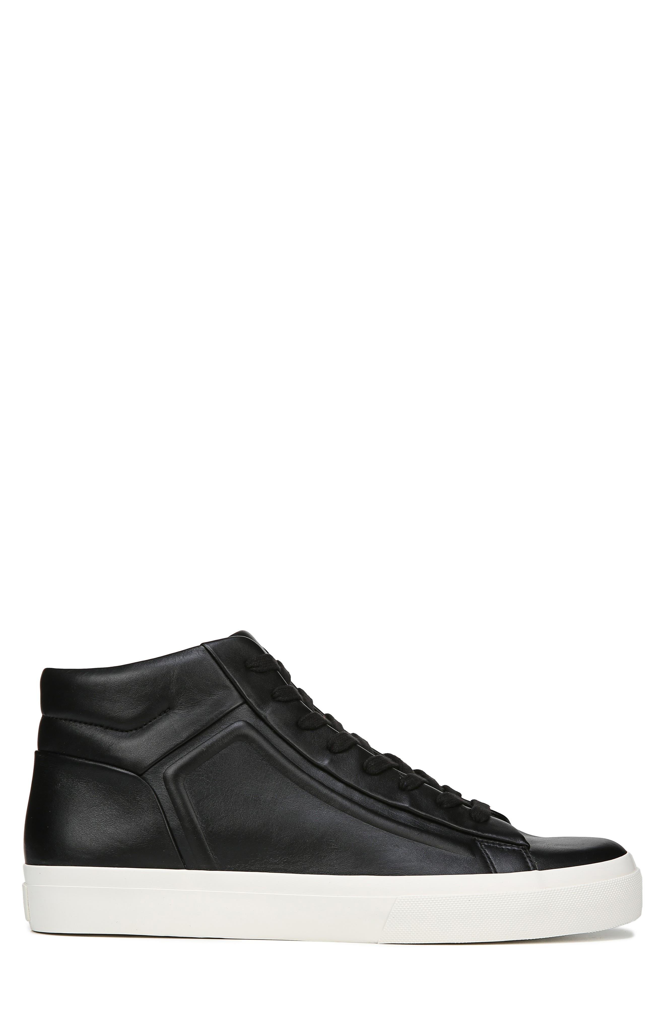 VINCE, Fynn High Top Sneaker, Alternate thumbnail 3, color, BLACK