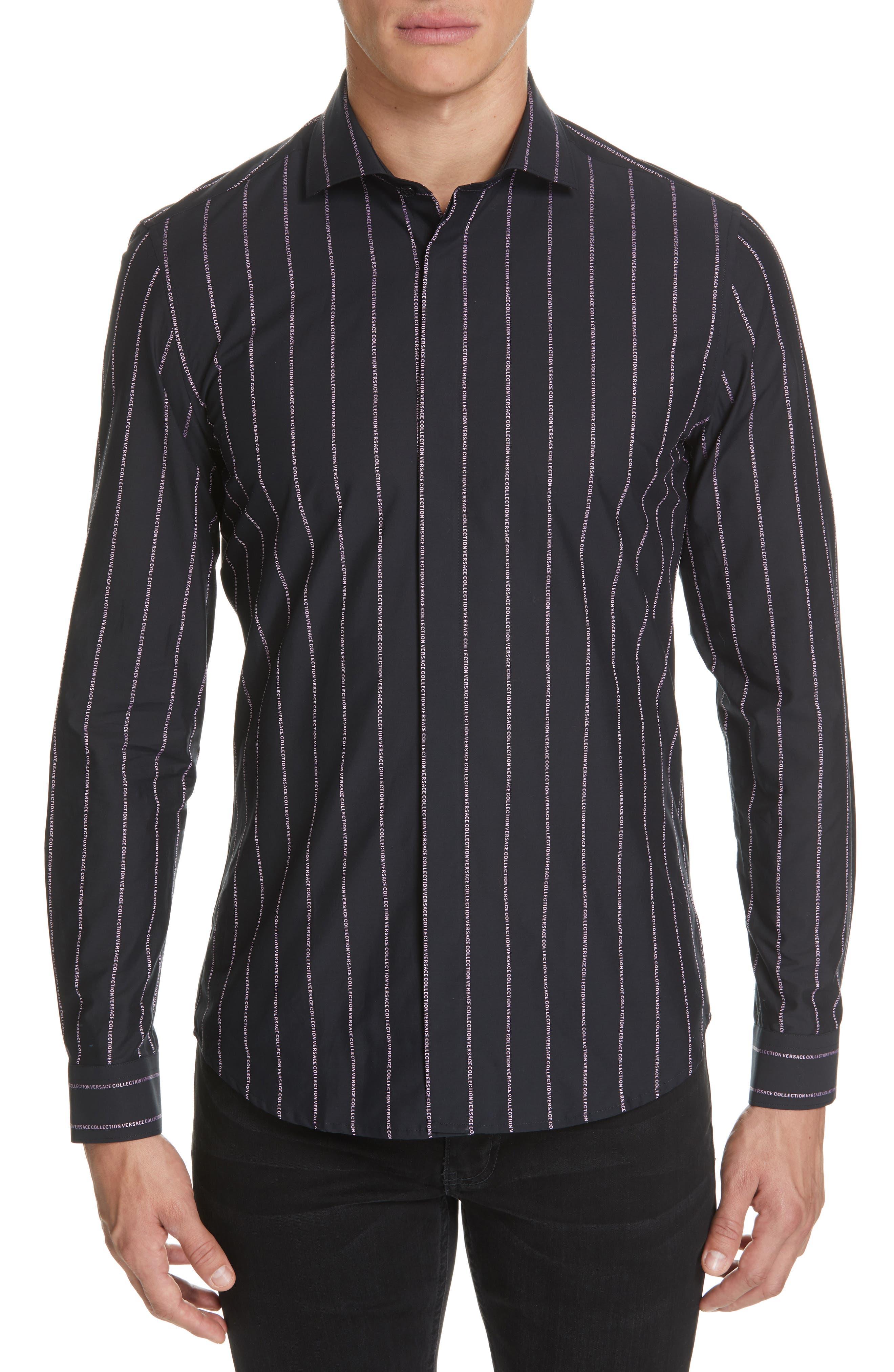 VERSACE COLLECTION, Logo Stripe Sport Shirt, Main thumbnail 1, color, BLACK/ PINK