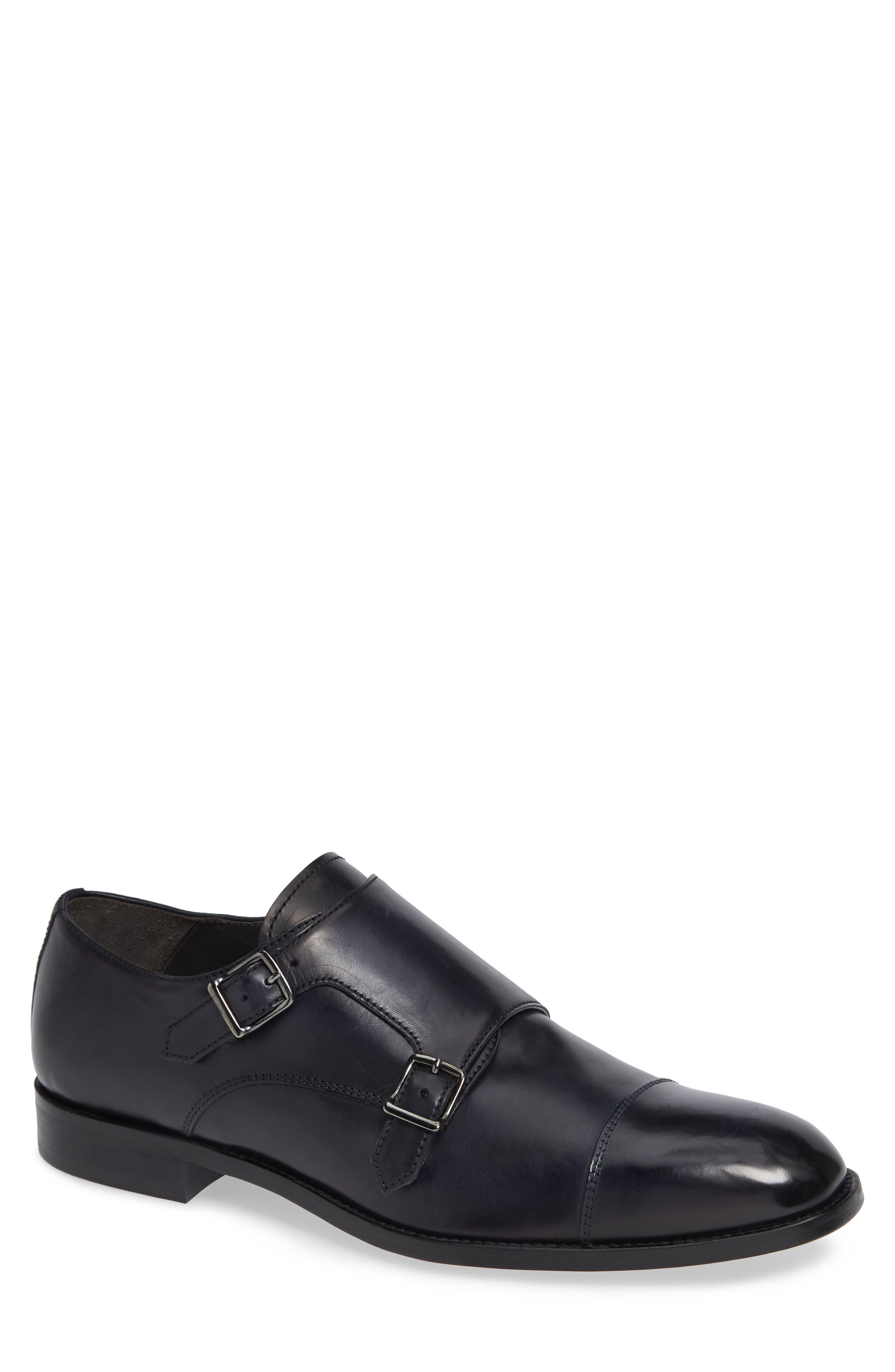 TO BOOT NEW YORK Quentin Cap Toe Monk Shoe, Main, color, BLUE MARINE LEATHER