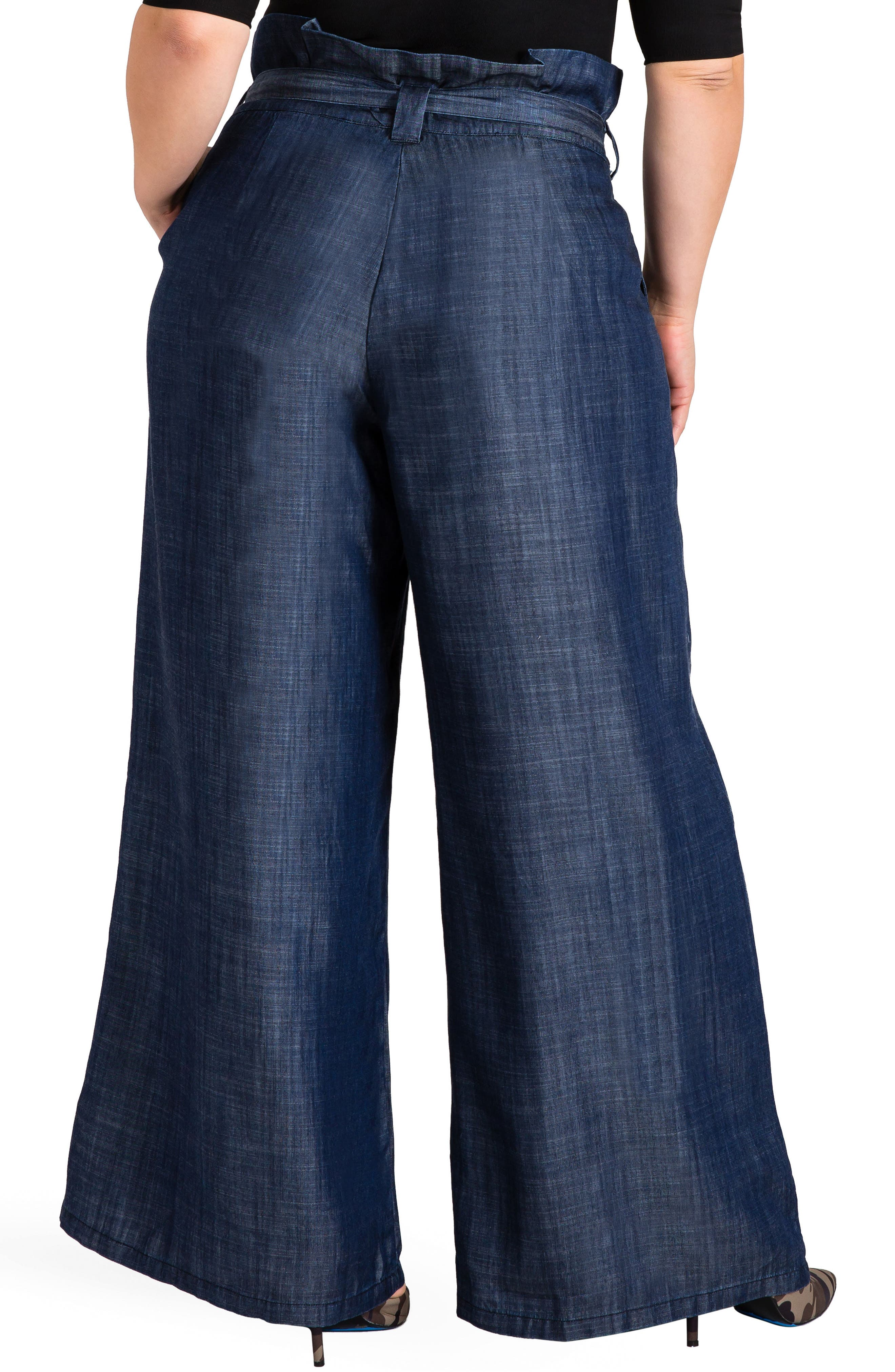 STANDARDS & PRACTICES, Cleo Wide Leg Pants, Alternate thumbnail 2, color, DARK BLUE